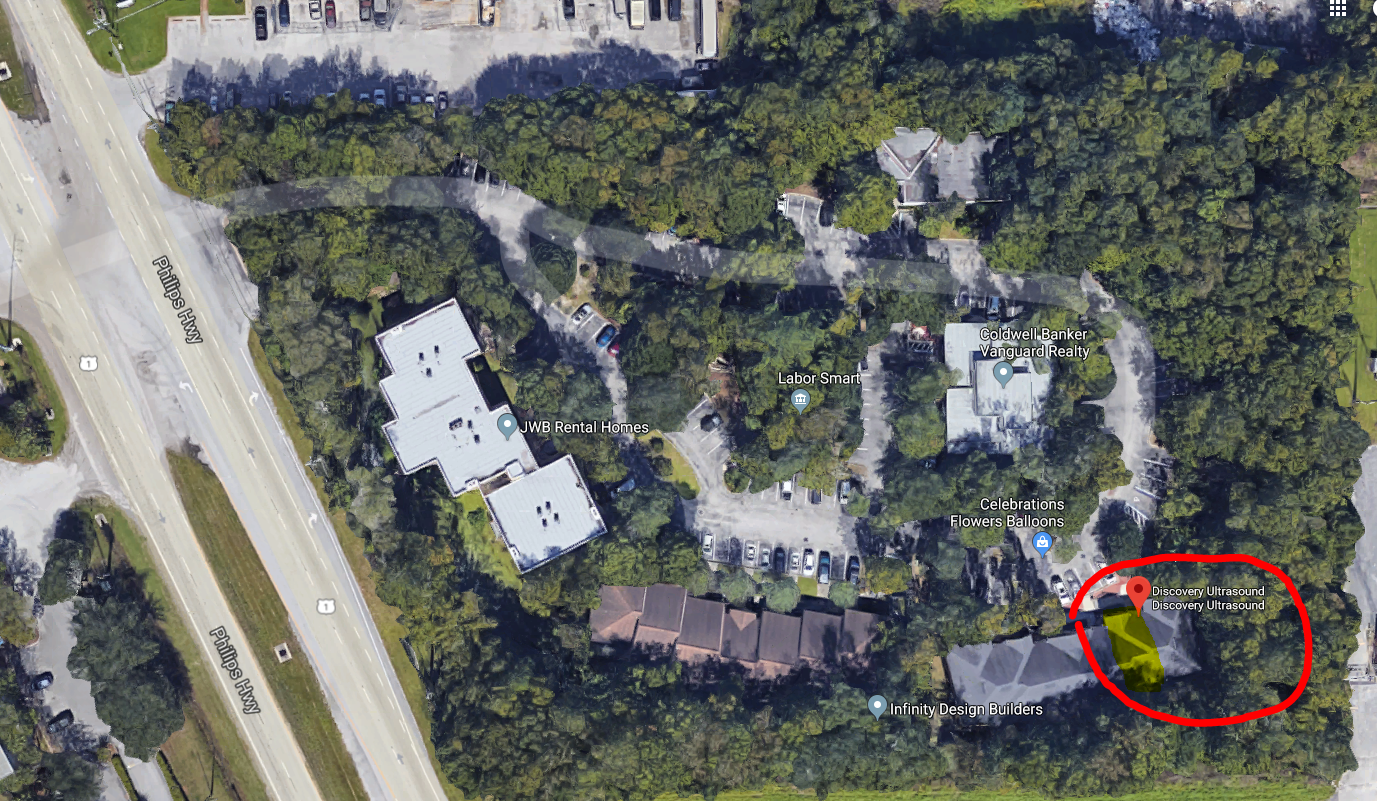 Aerial view of Treetops Office Park. We are in the back right corner as you drive in.