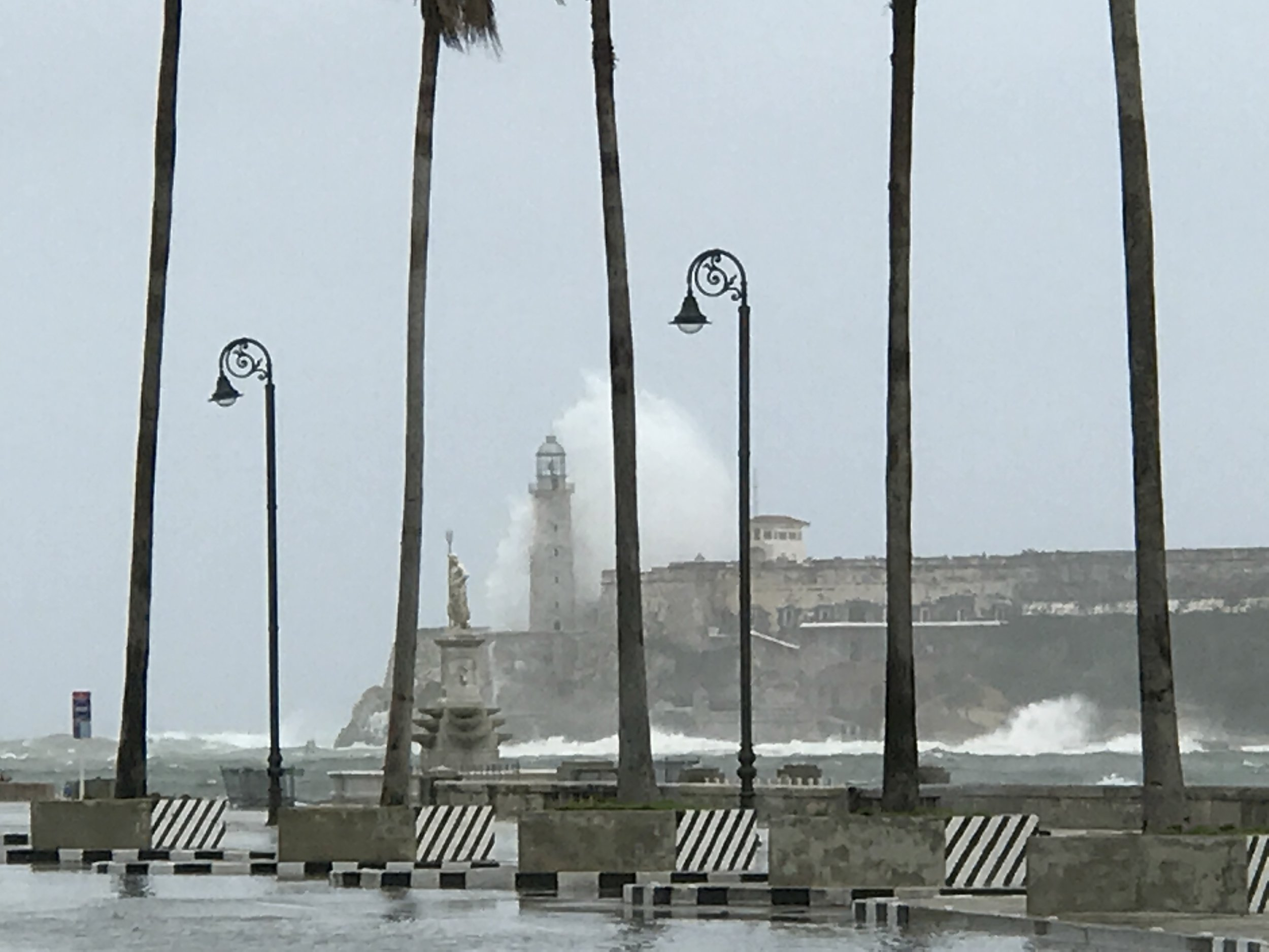 Storm surge and massive waves at the Havana port entry and at the Castillo Morro.