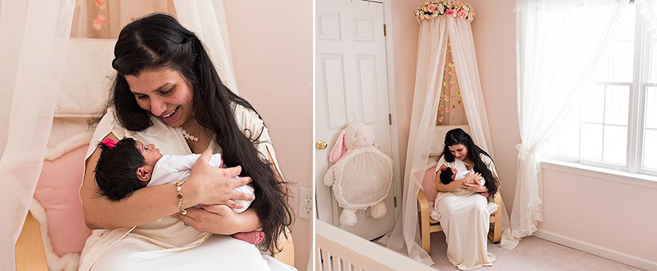 mom holding newborn in nusery chair southington connecticut newborn photographer