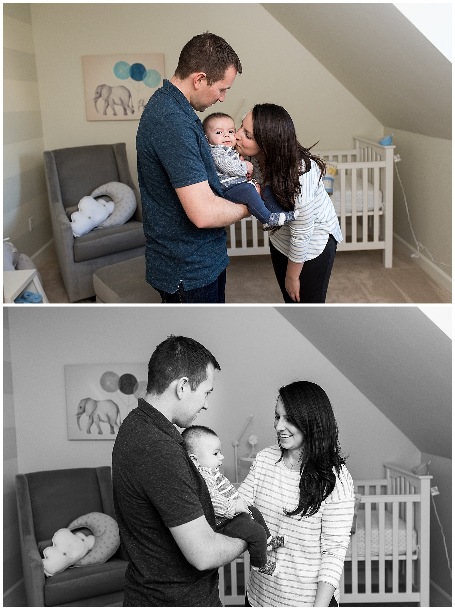 mom and dad with baby in nursery in hartford county, ct family photography session