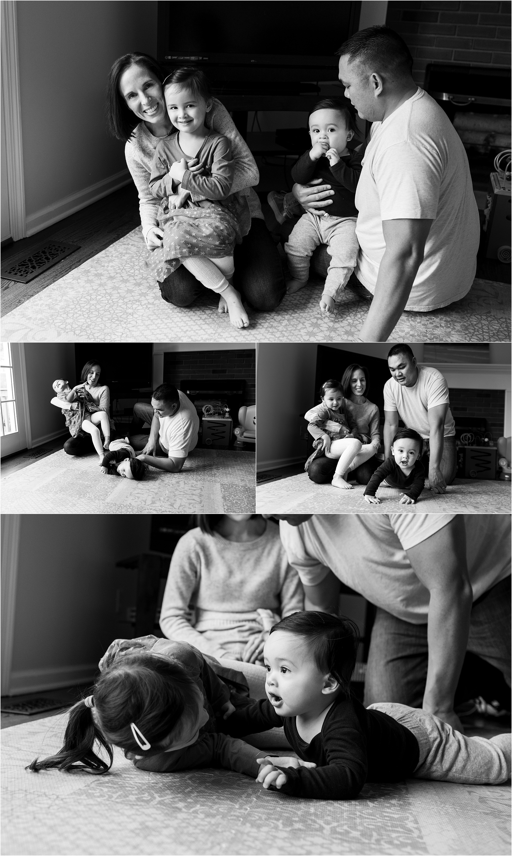 family in living room during connecticut in home baby photography