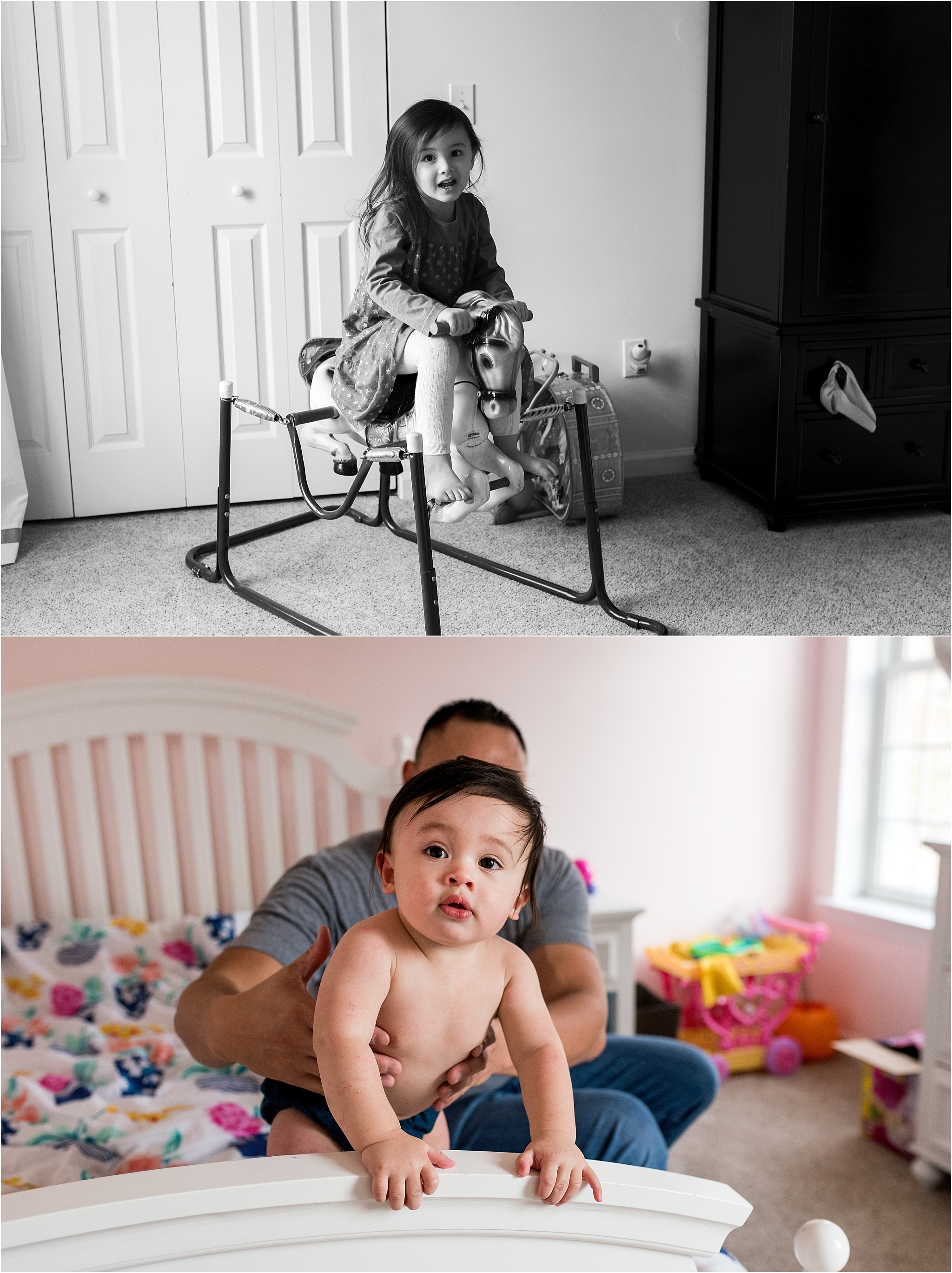 toddler and baby in bedroom in home baby photography ct