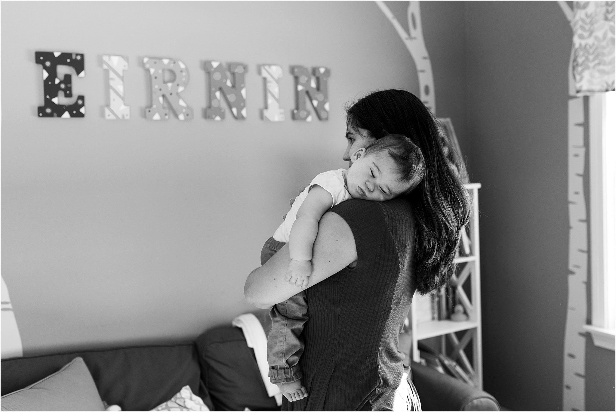 baby sleeping in nursery in home family photography ct