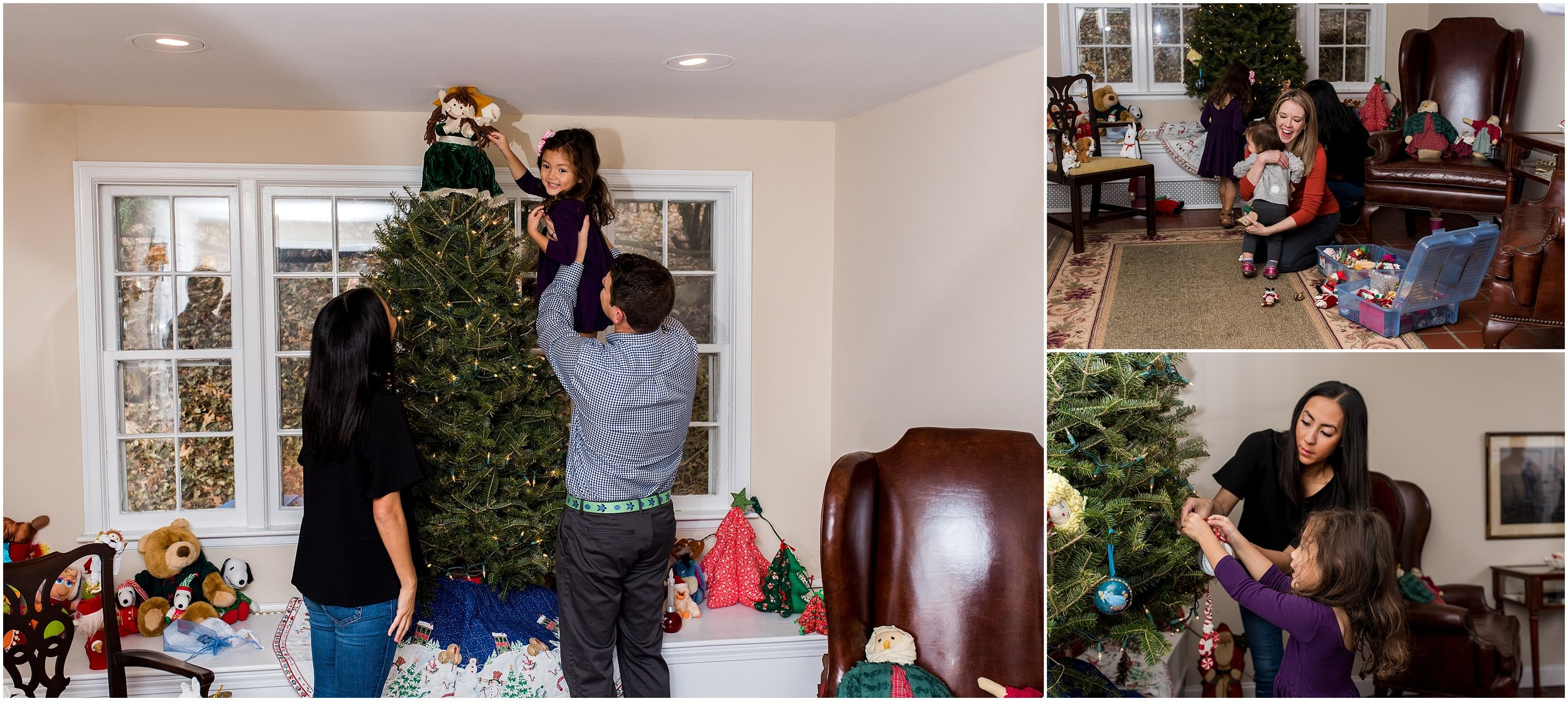 family decorating christmas tree, ct large family photography