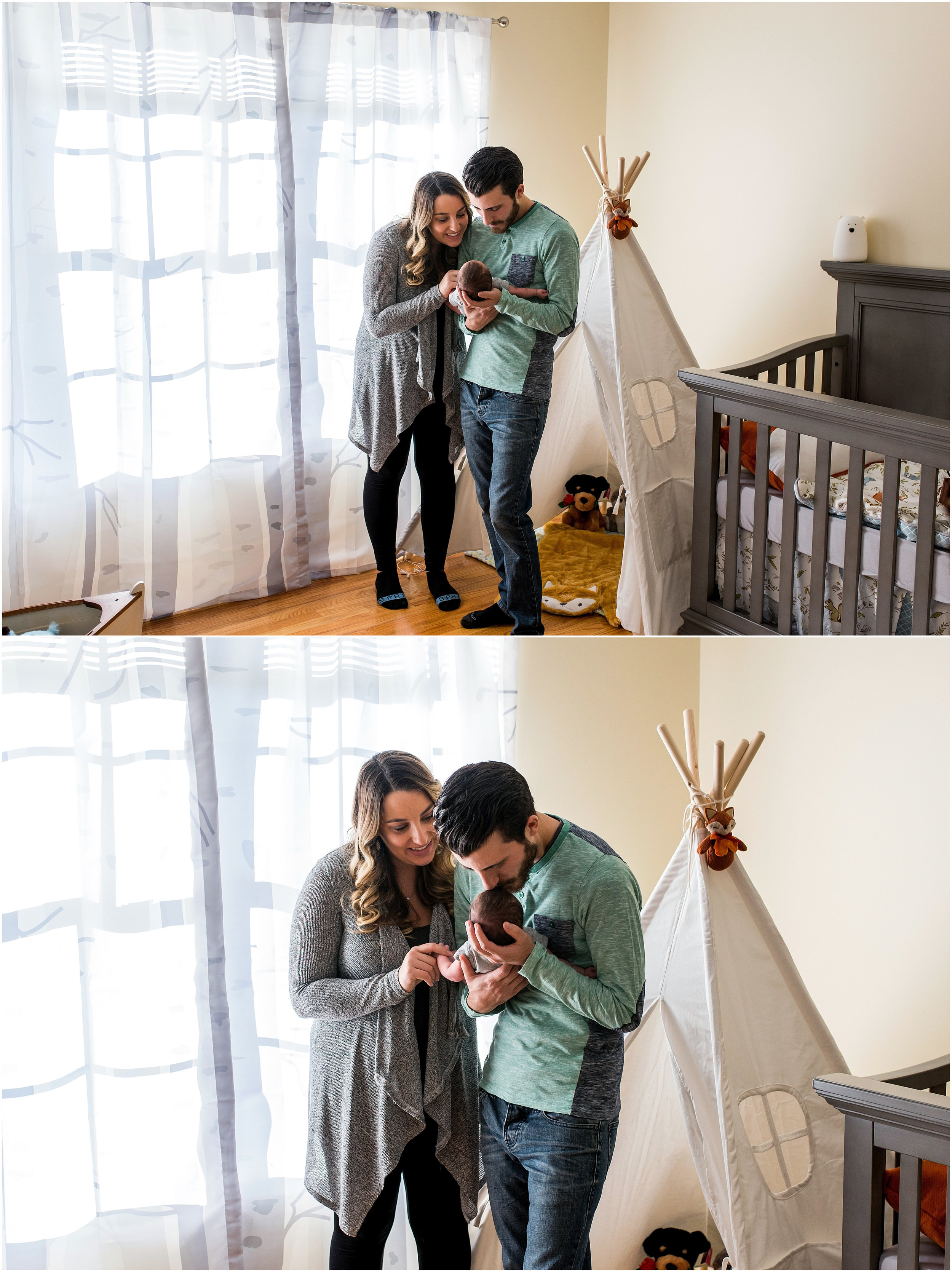 parents with newborn in nursery during connecticut newborn photography
