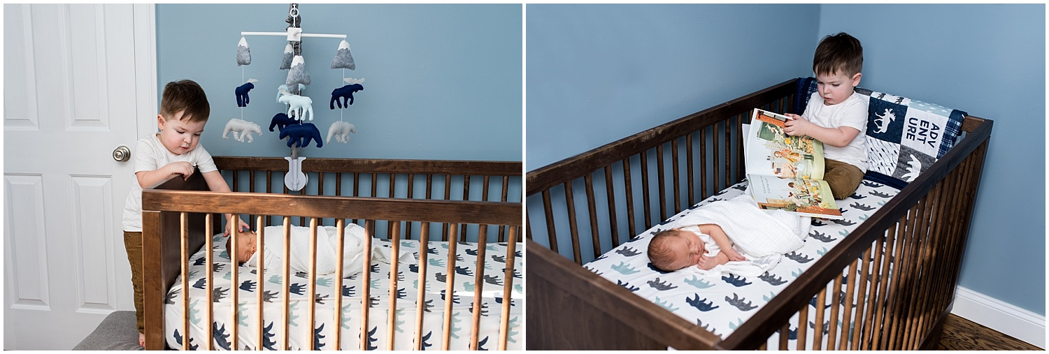 big brother in crib with newborn baby. connecticut newborn photography