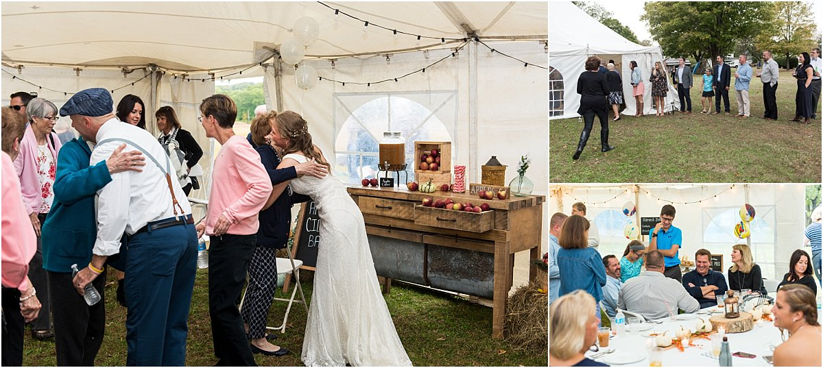 mingling with friends and family during backyard wedding