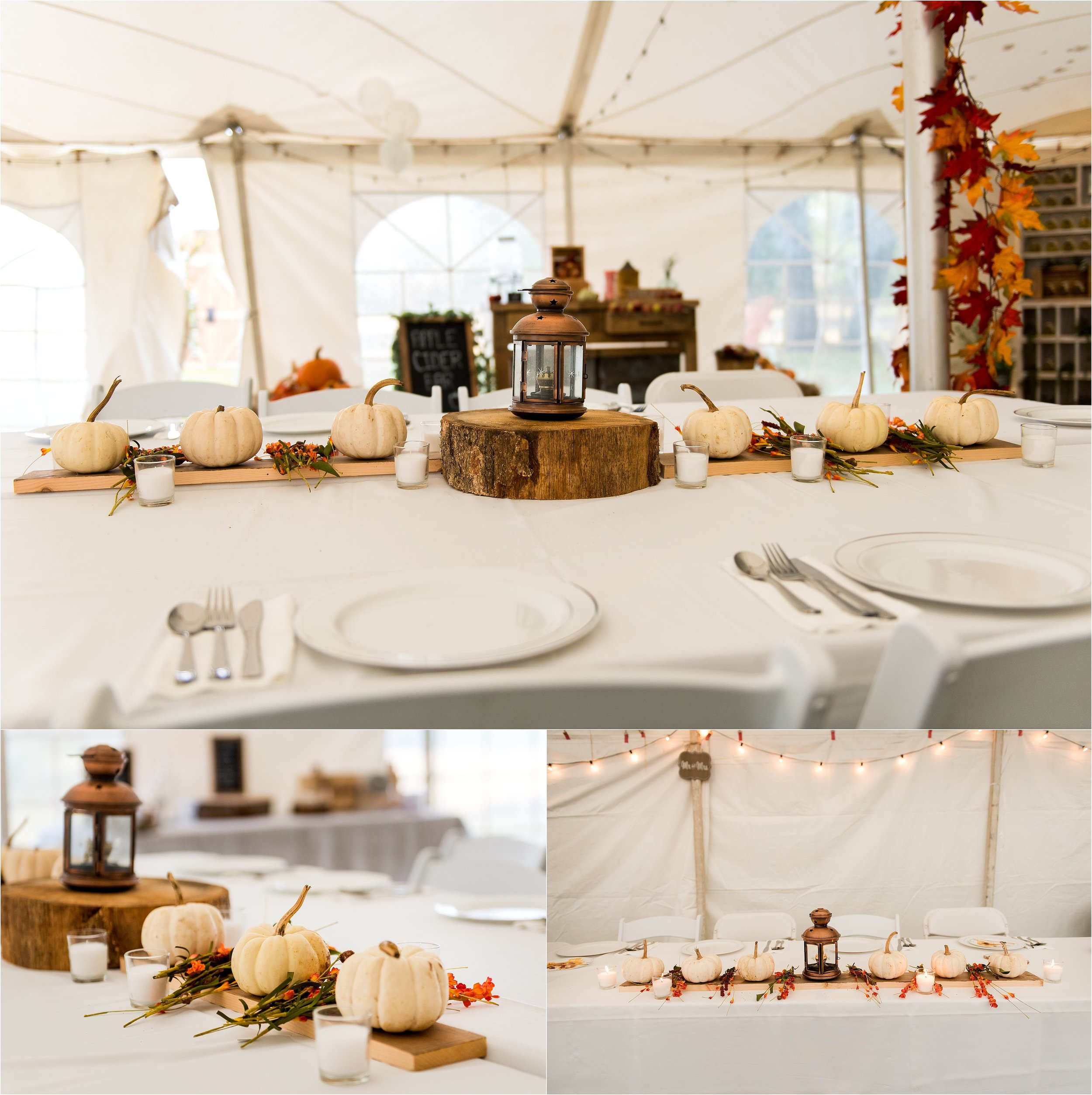 fall rusttic wedding decor with white pumpkins
