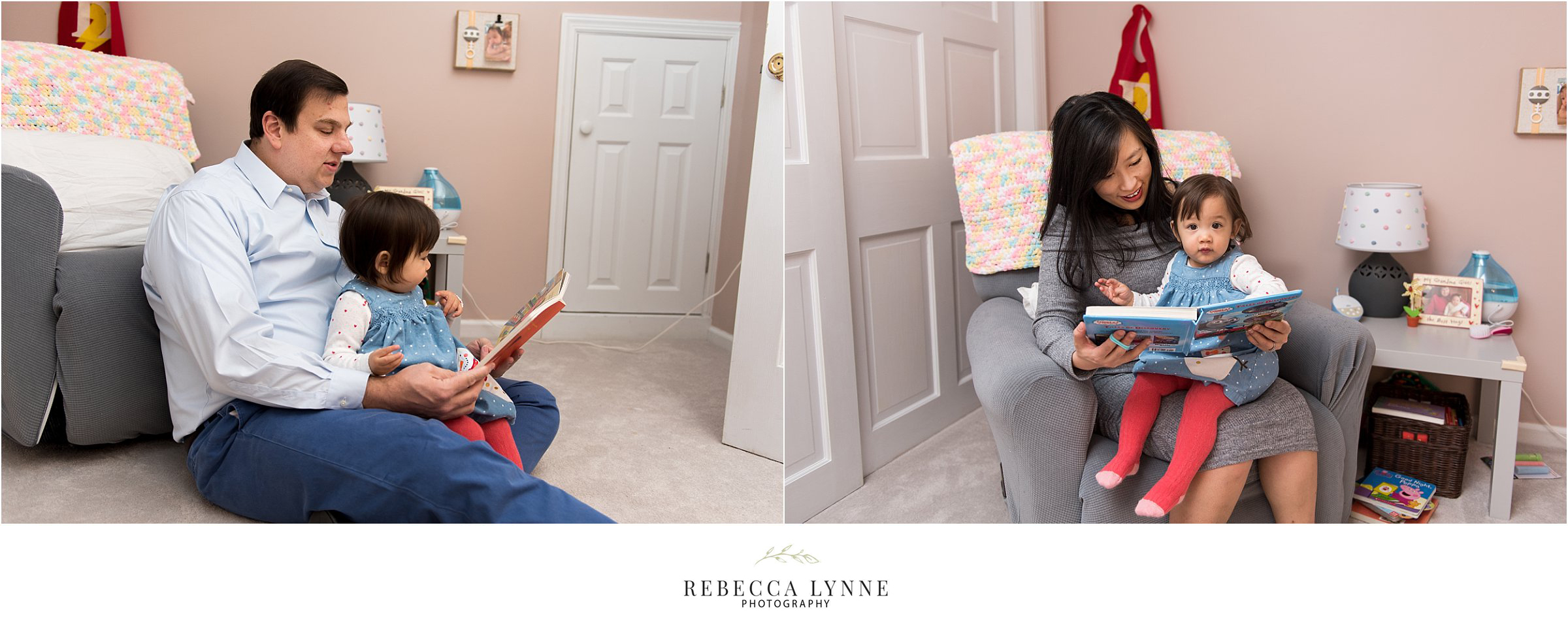 maternity photographer ct. mom and dad reading books in nursery.