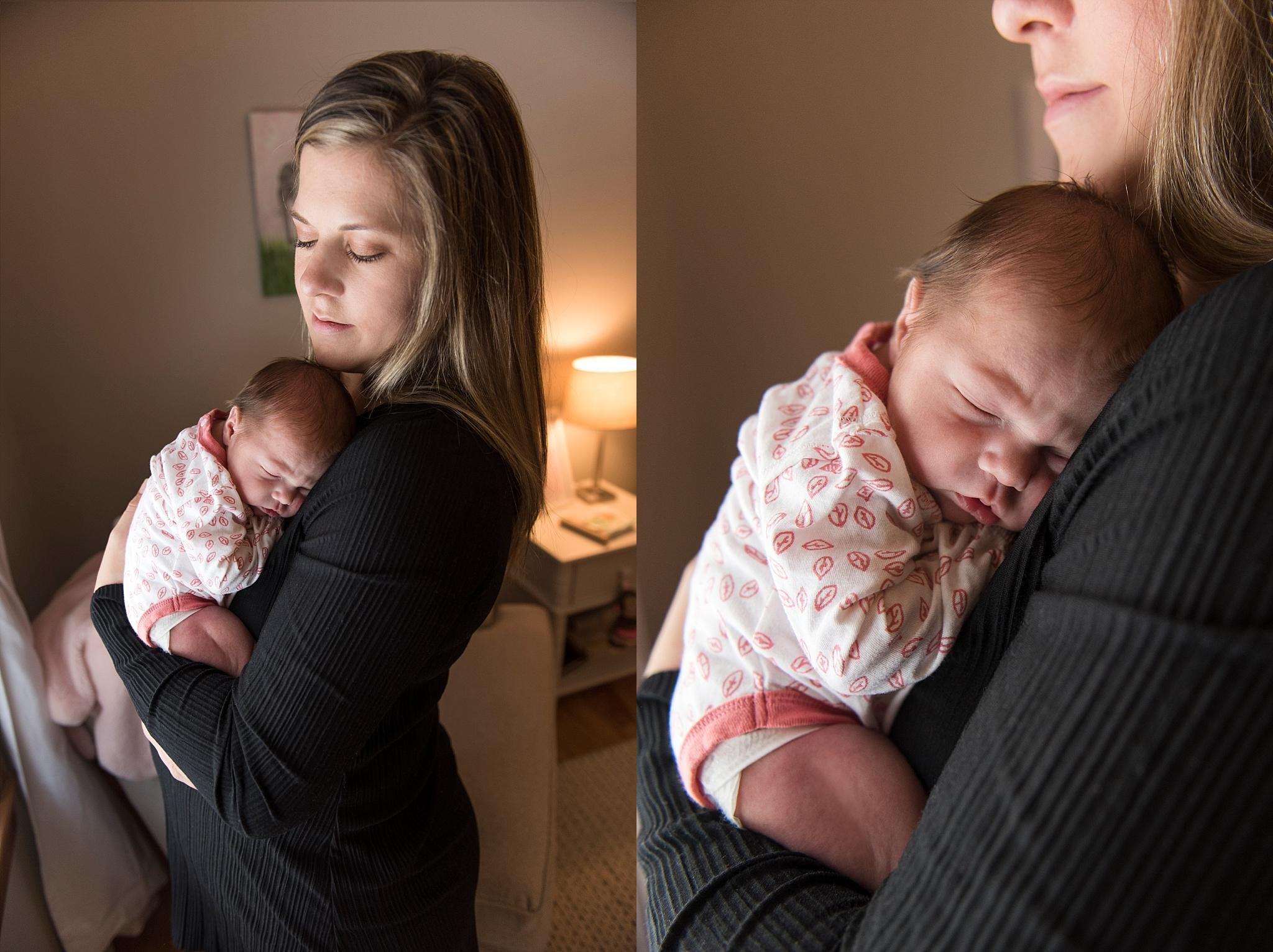 mom with sleeping newborn. ct newborn photographer