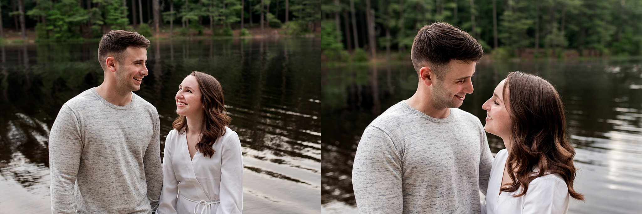 connecticut engagement photography by a pond
