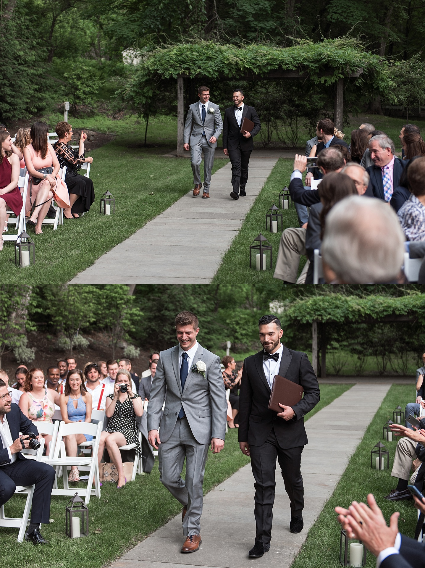 groom walking down isle at avon old farms hotel wedding in connecticut