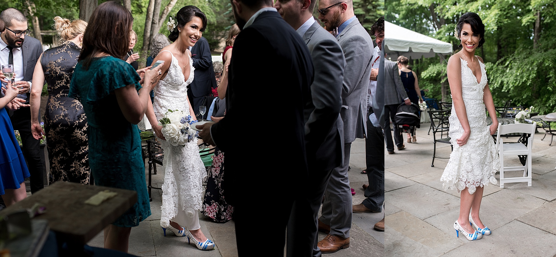 bride wearing r2d2 wedding shoes. connecticut wedding photography