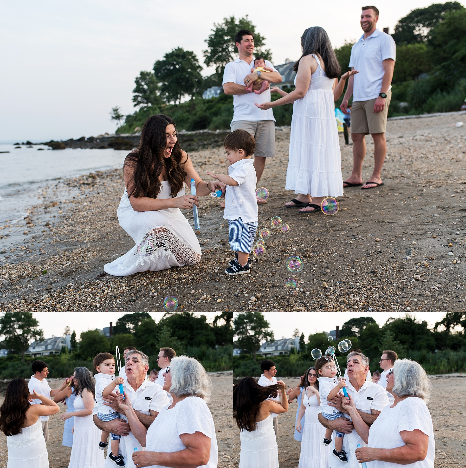 extended family photography session on the beach in ct