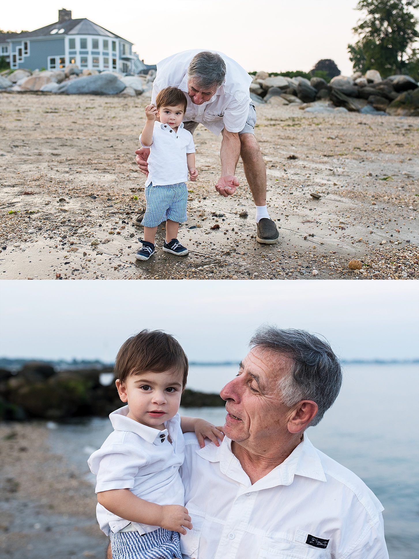 grandpa and grandson during extended family session in connecticut