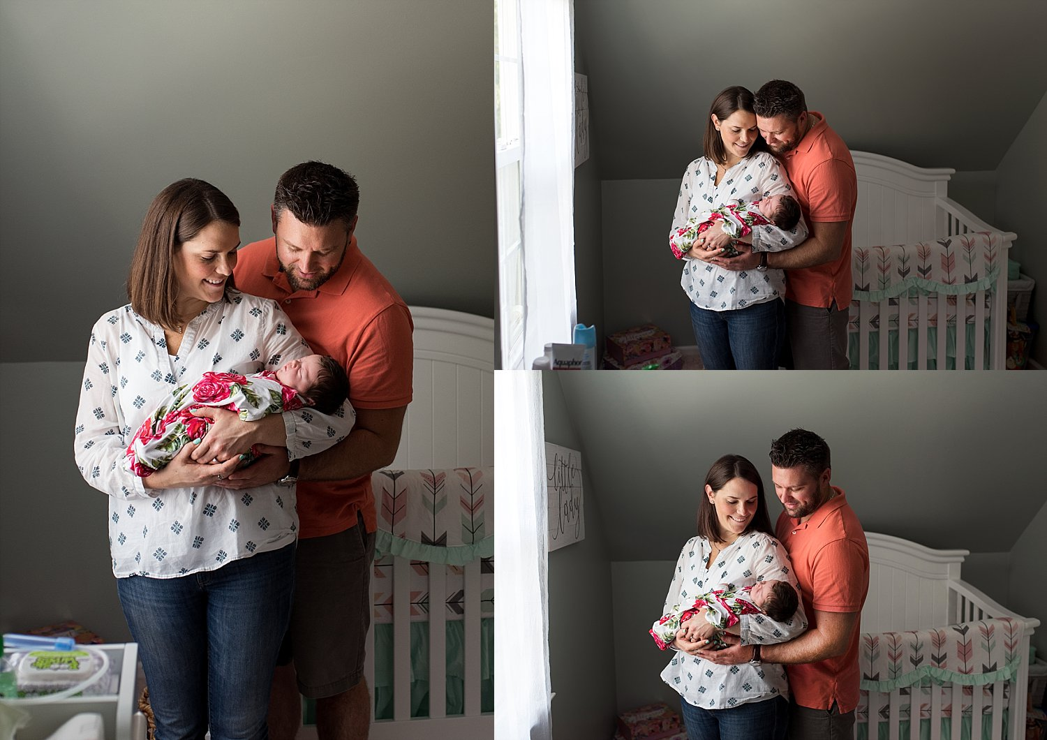 mom and dad with newborn in nursery during ct newborn photography