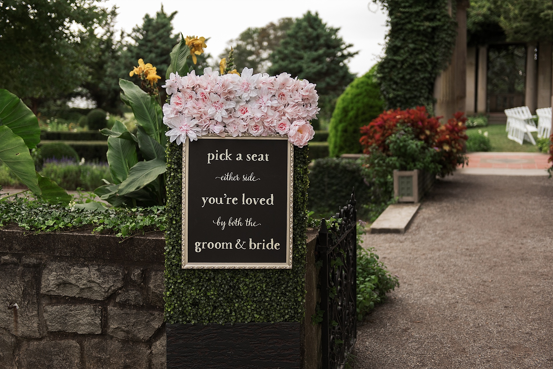 wedding ceremony sign at Eolia Mansion. connecticut wedding photographer