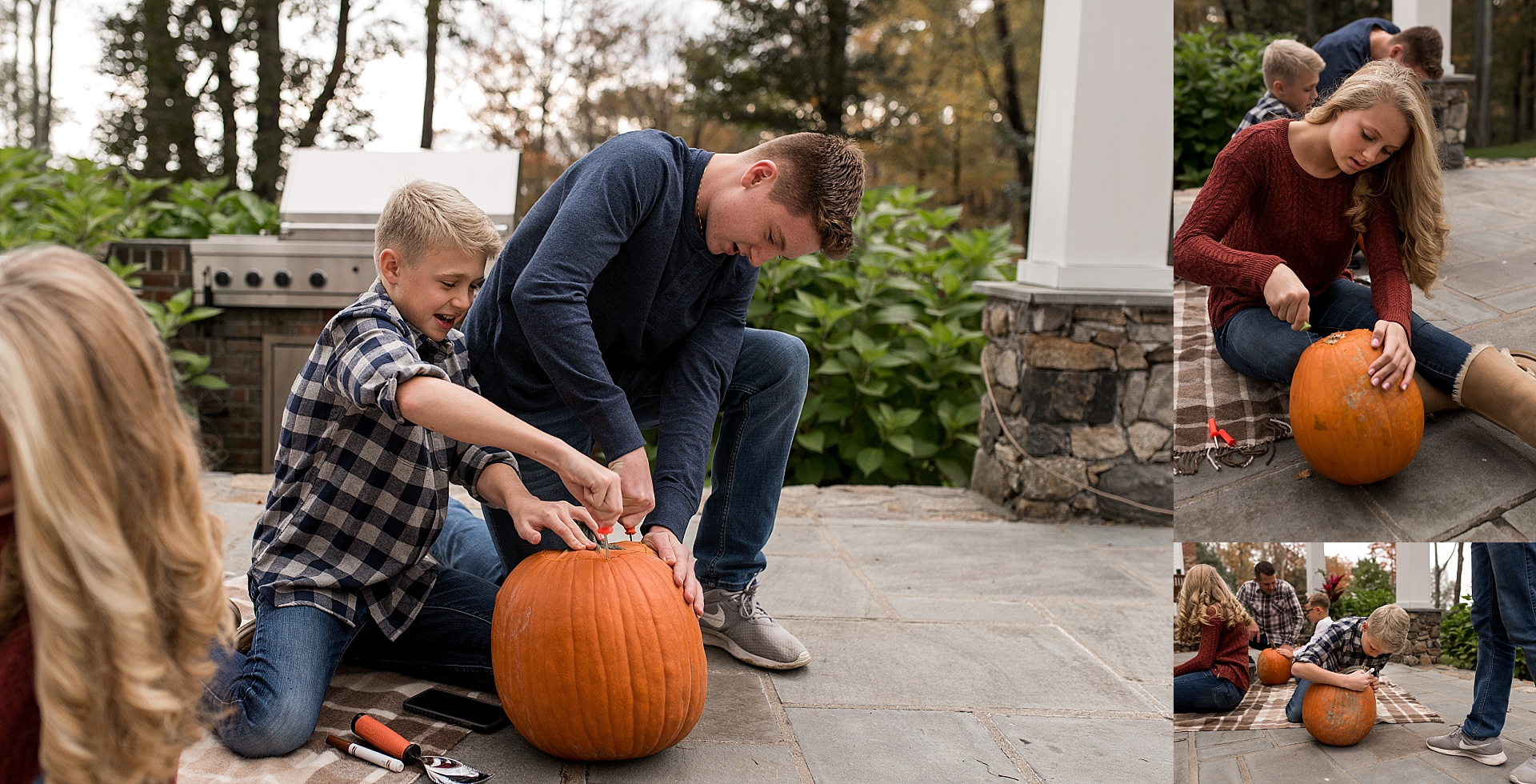 litchfield county family carving pumpkins during family photography