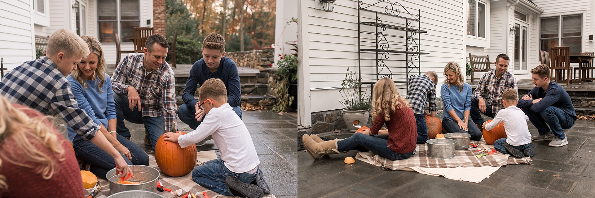 litchfield county photographer. parents and children carving pumpkins together.