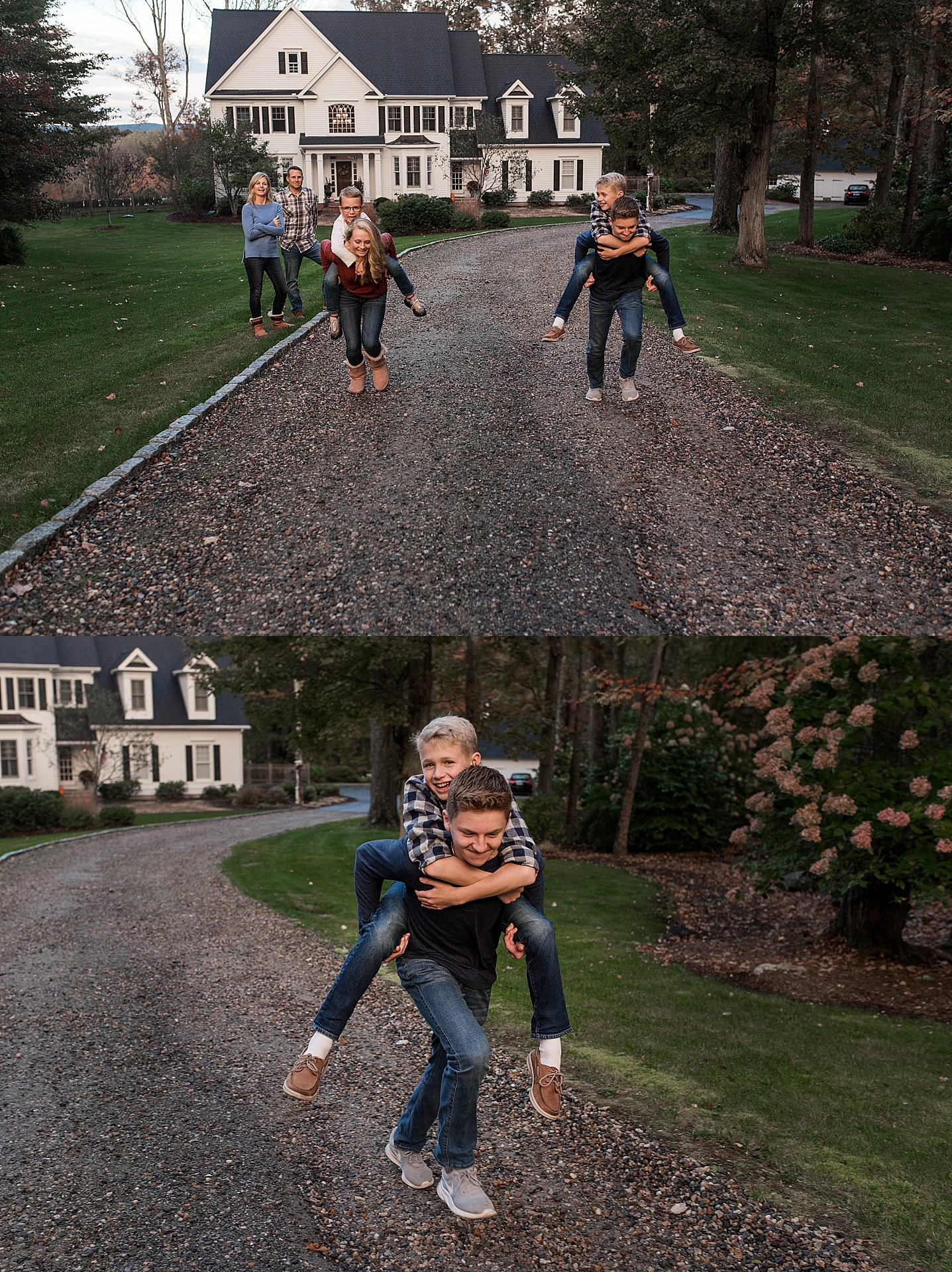 children giving each other piggy back rides during, litchfield county photography