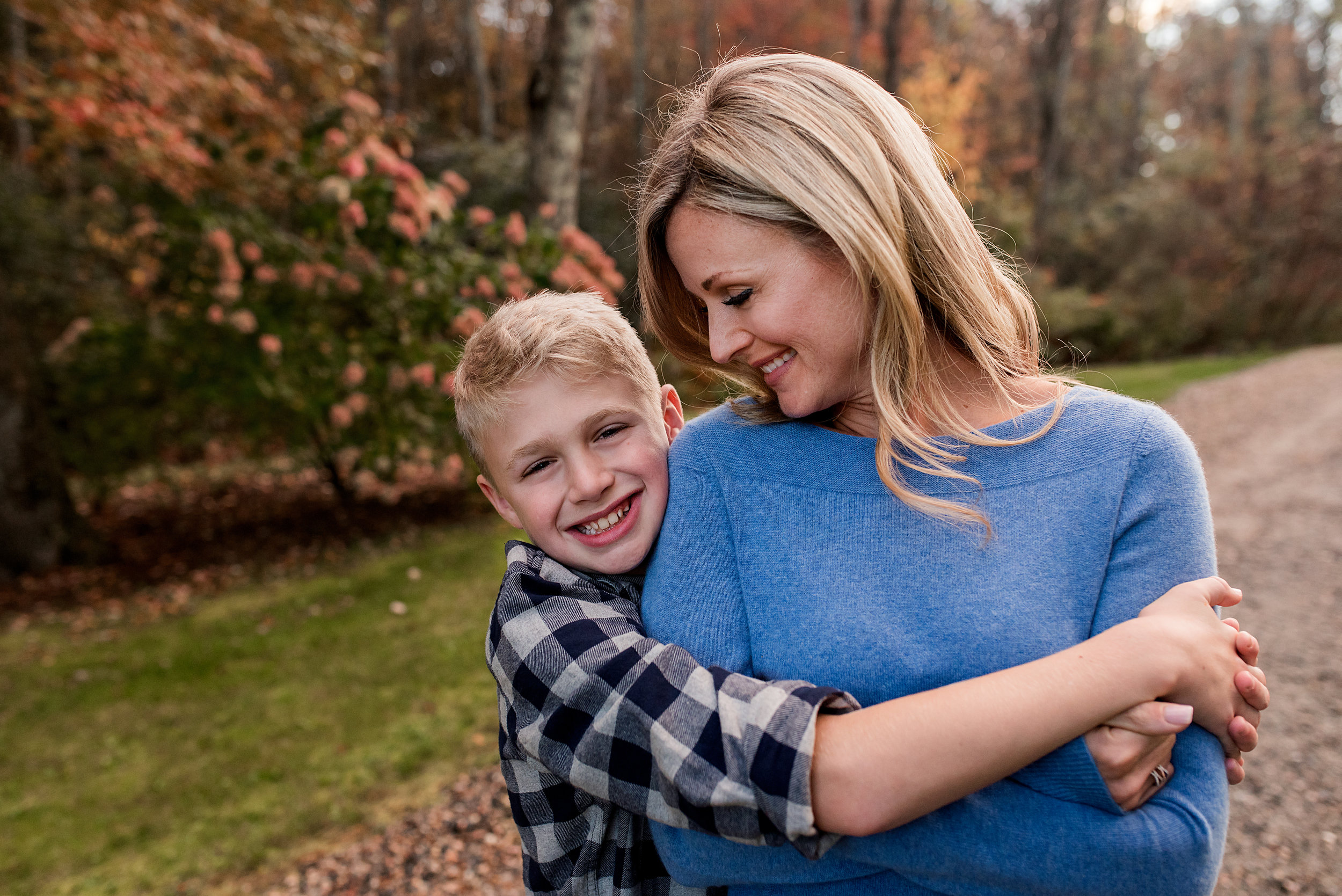 son hugging mom during litchfield county family photography
