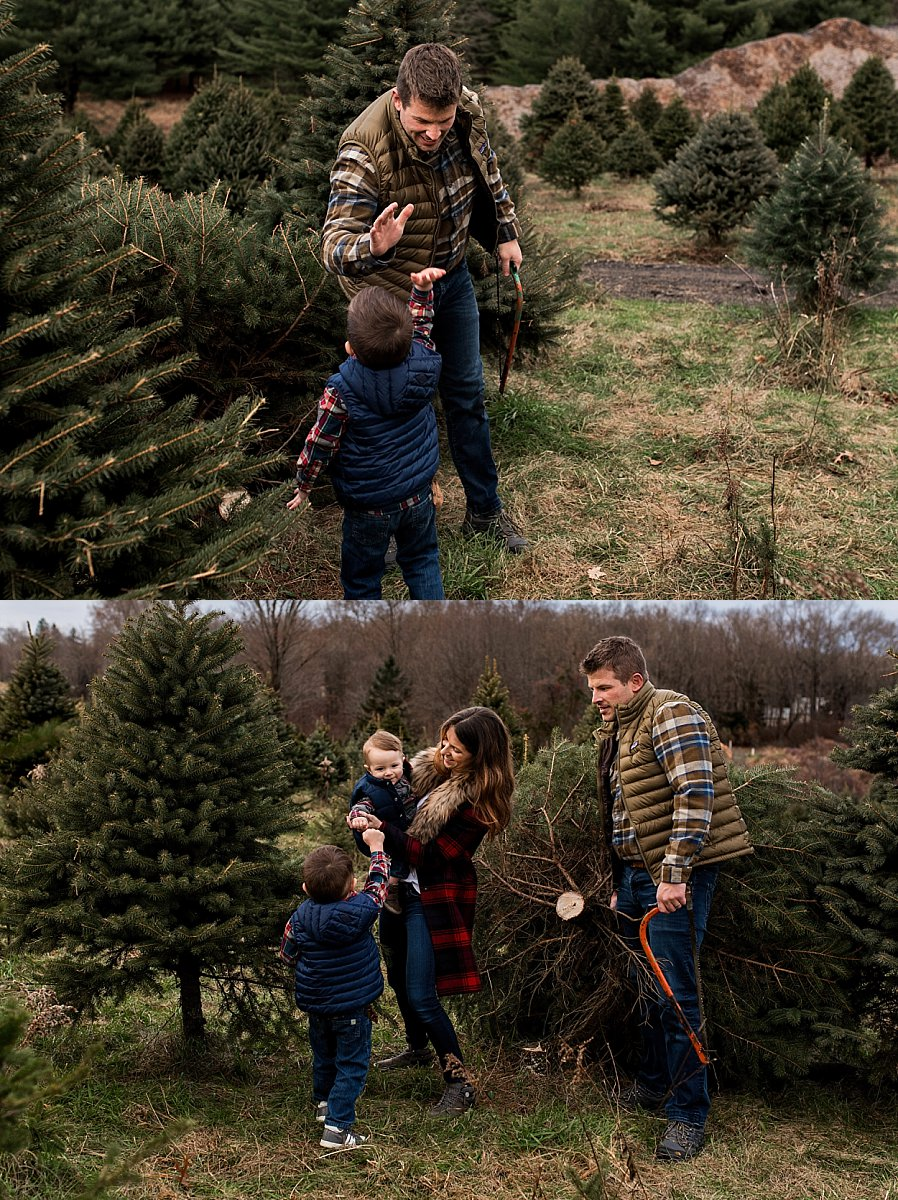 family cutting down christmas tree in connecticut