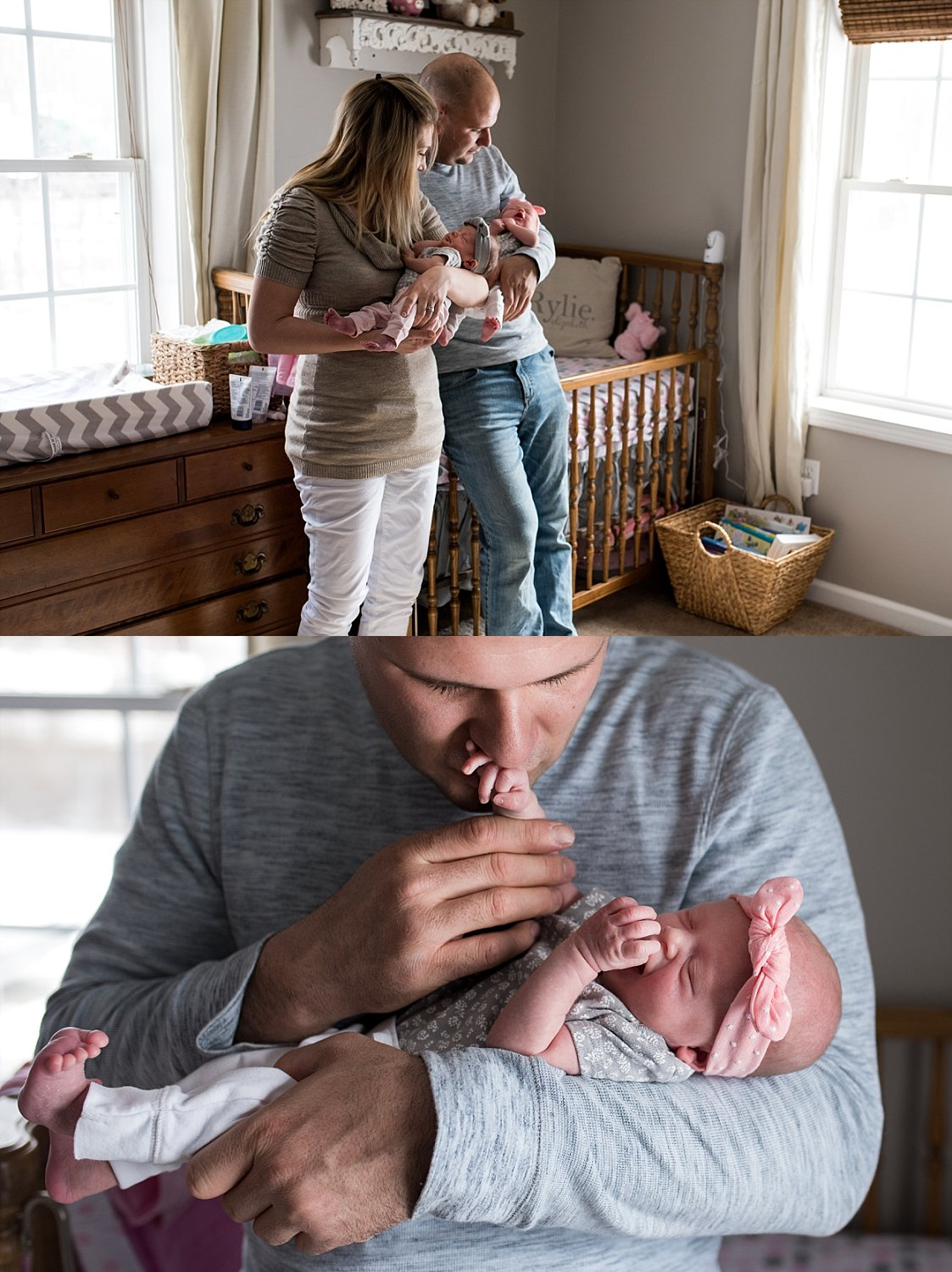 Mom and Dad holding twin newborns during newborn photography in fairfield county ct