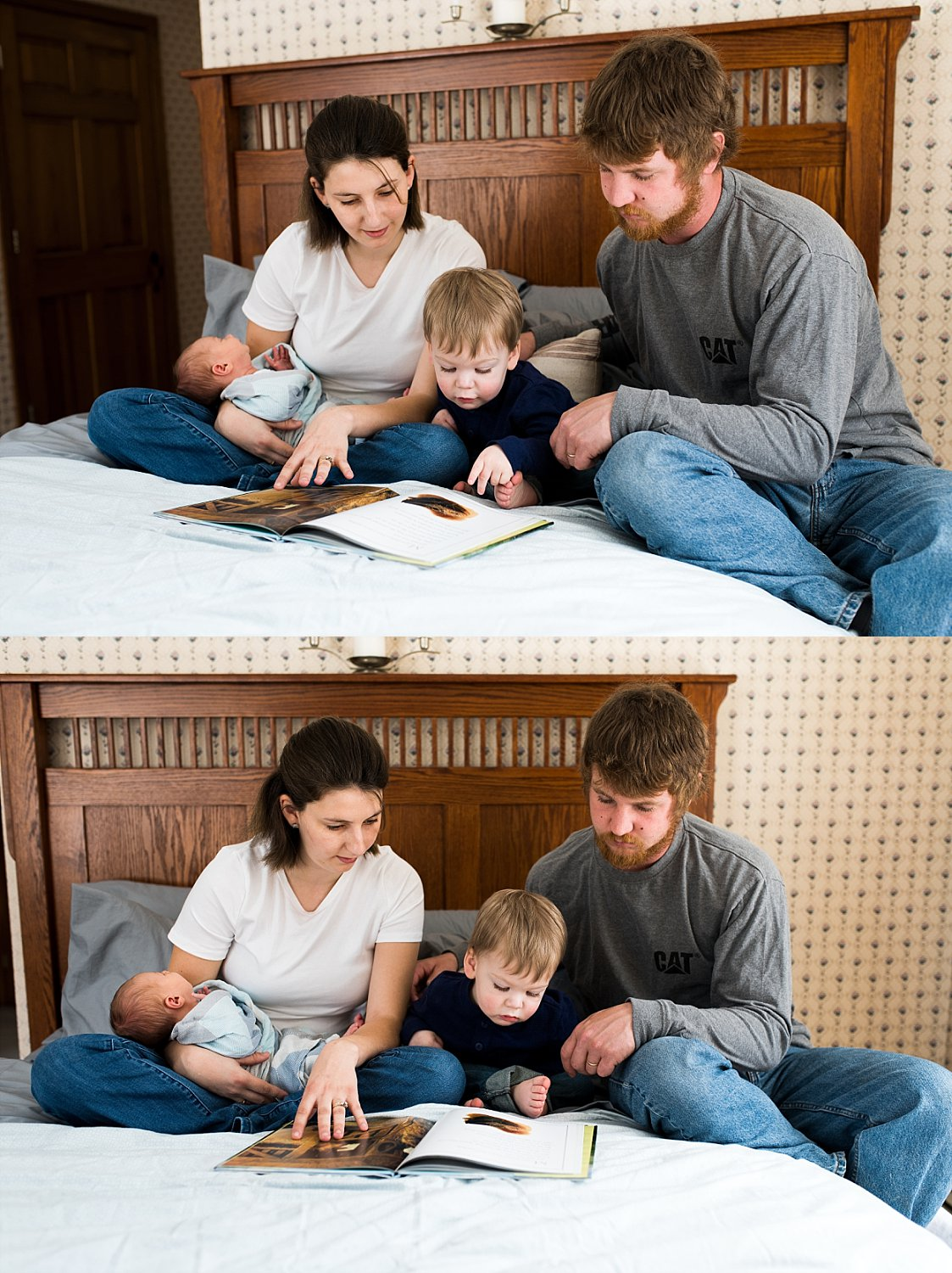 family reading booking together on their bed during baby photography ct