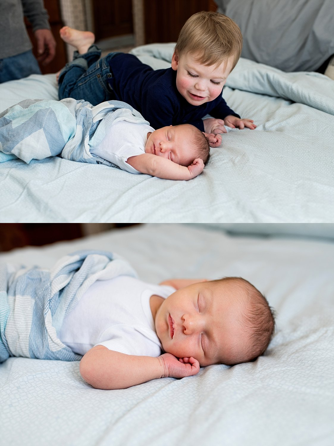 newborn boy sleeping on mom and dads bed during baby photograph ct