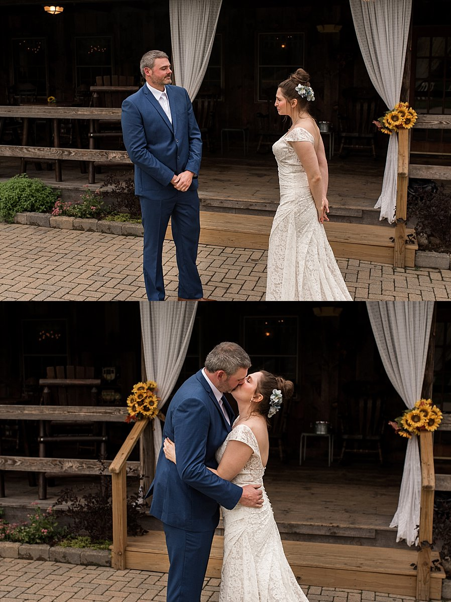 wedding photographers in ct, rebecca lynne capture a bride and groom's first look.