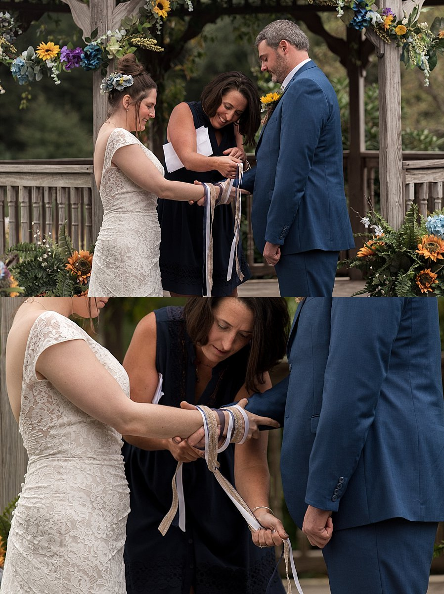 bride and groom holding hands during connecticut wedding ceremony