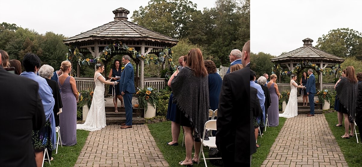 Bride and groom during their Fall wedding ceremony in connecticut. ct wedding photographer