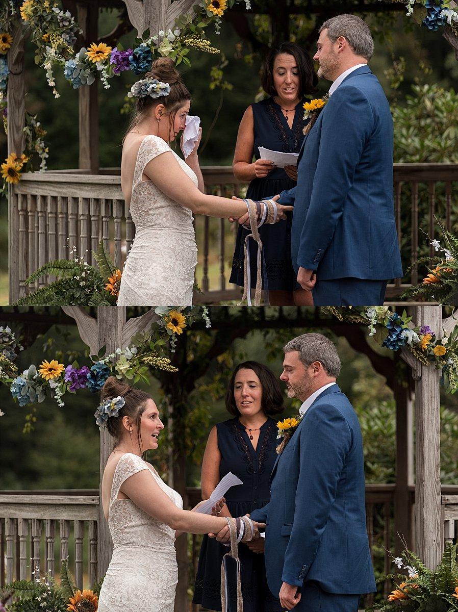 emotional bride during wedding ceremony. ct wedding photo
