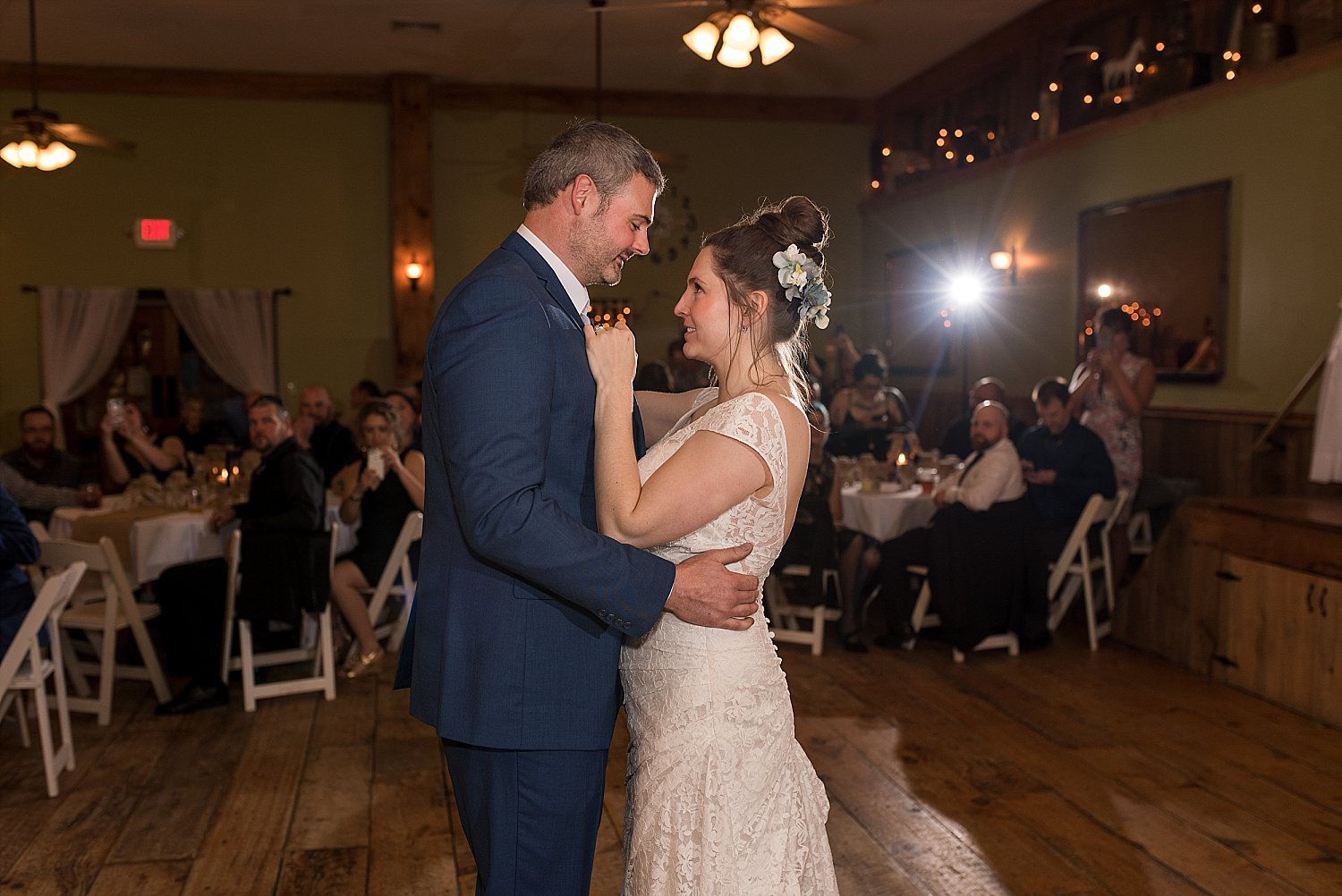 bride and groom first dance at wood acres farm wedding. connecticut photographer