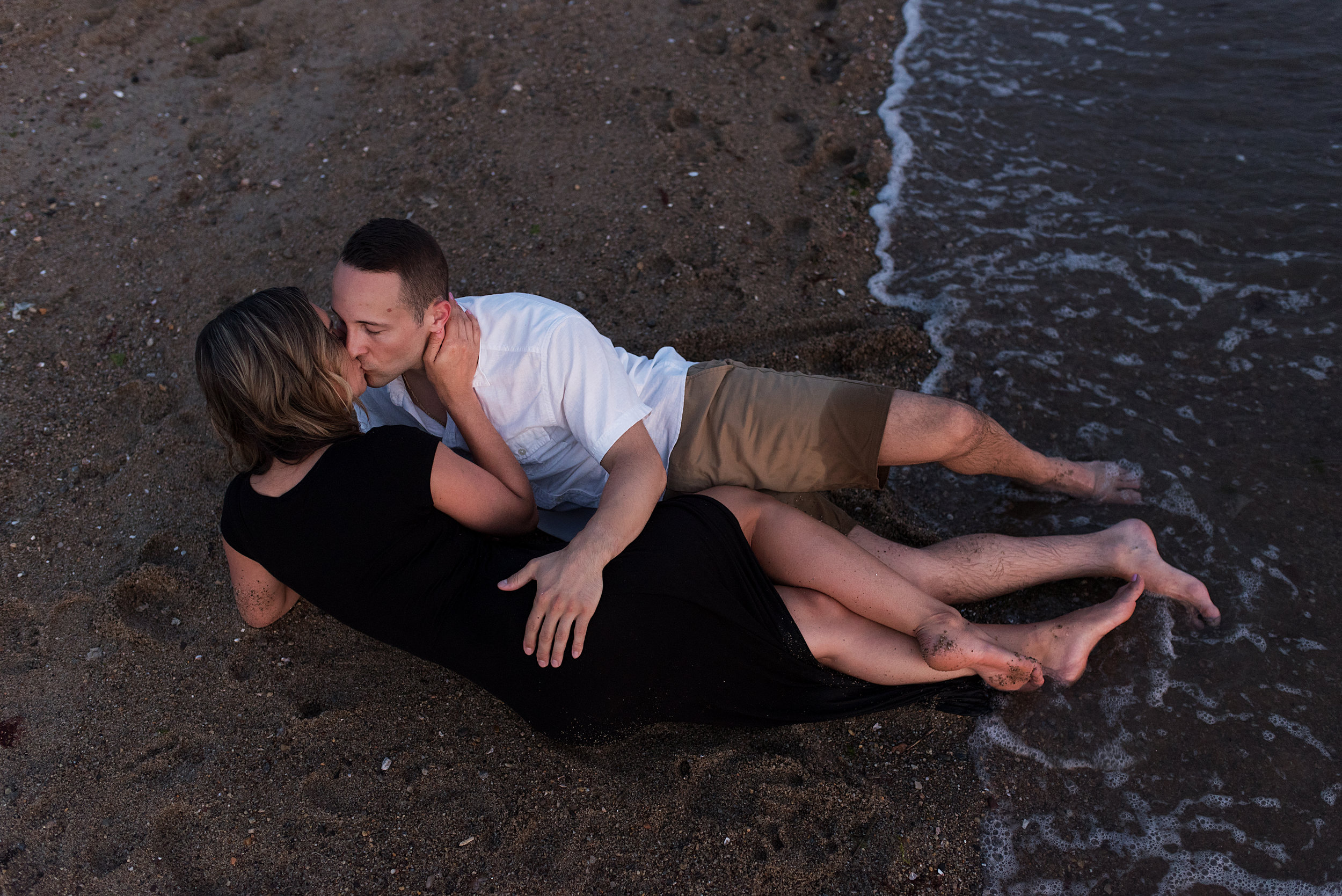 intimate engagement photography on the beach in connecticut