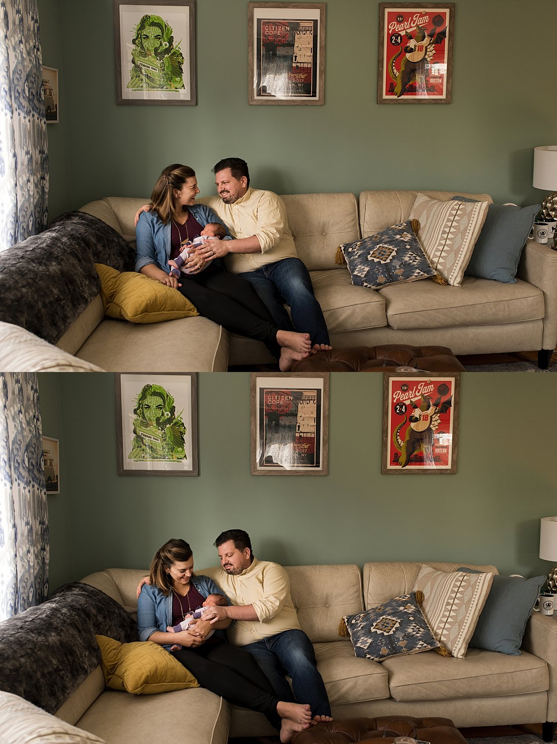 New parents holding their newborn baby while sitting on their couch in the living room. Connecticut newborn photos