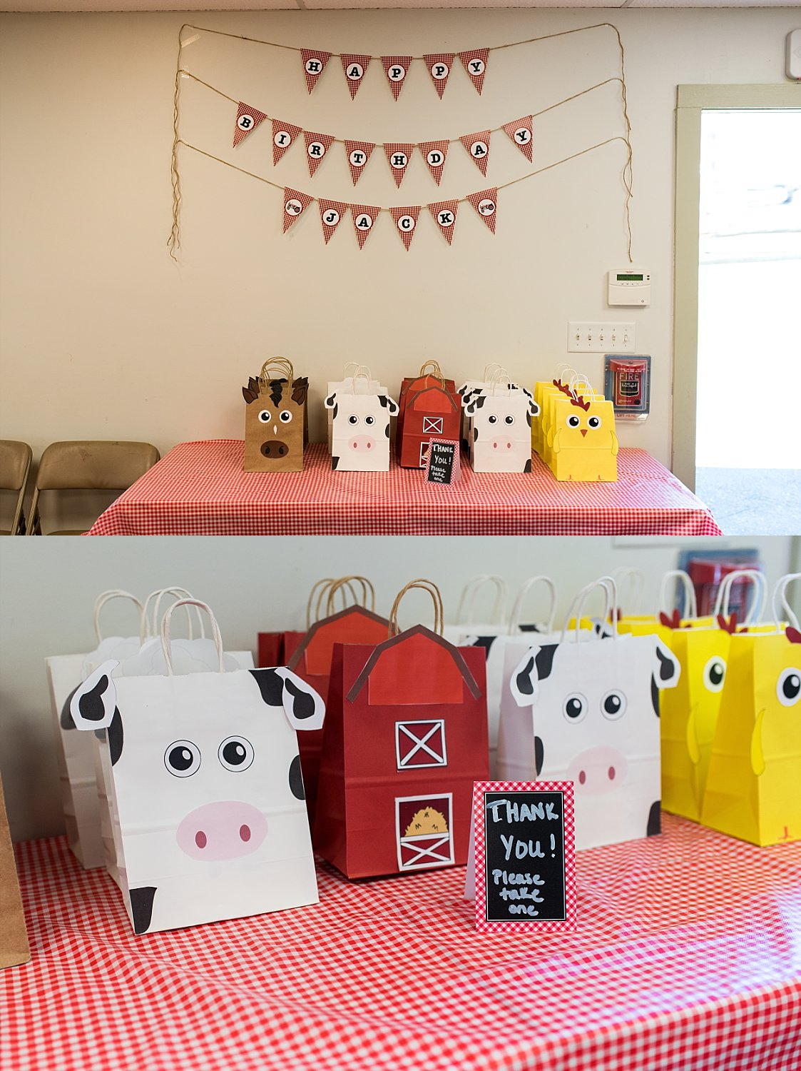 Farm themed birthday party gift bags at Stamford Nature Center in CT