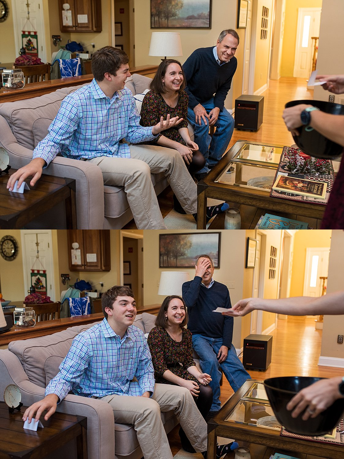 adult children playing charades with their parents during CT family photography.