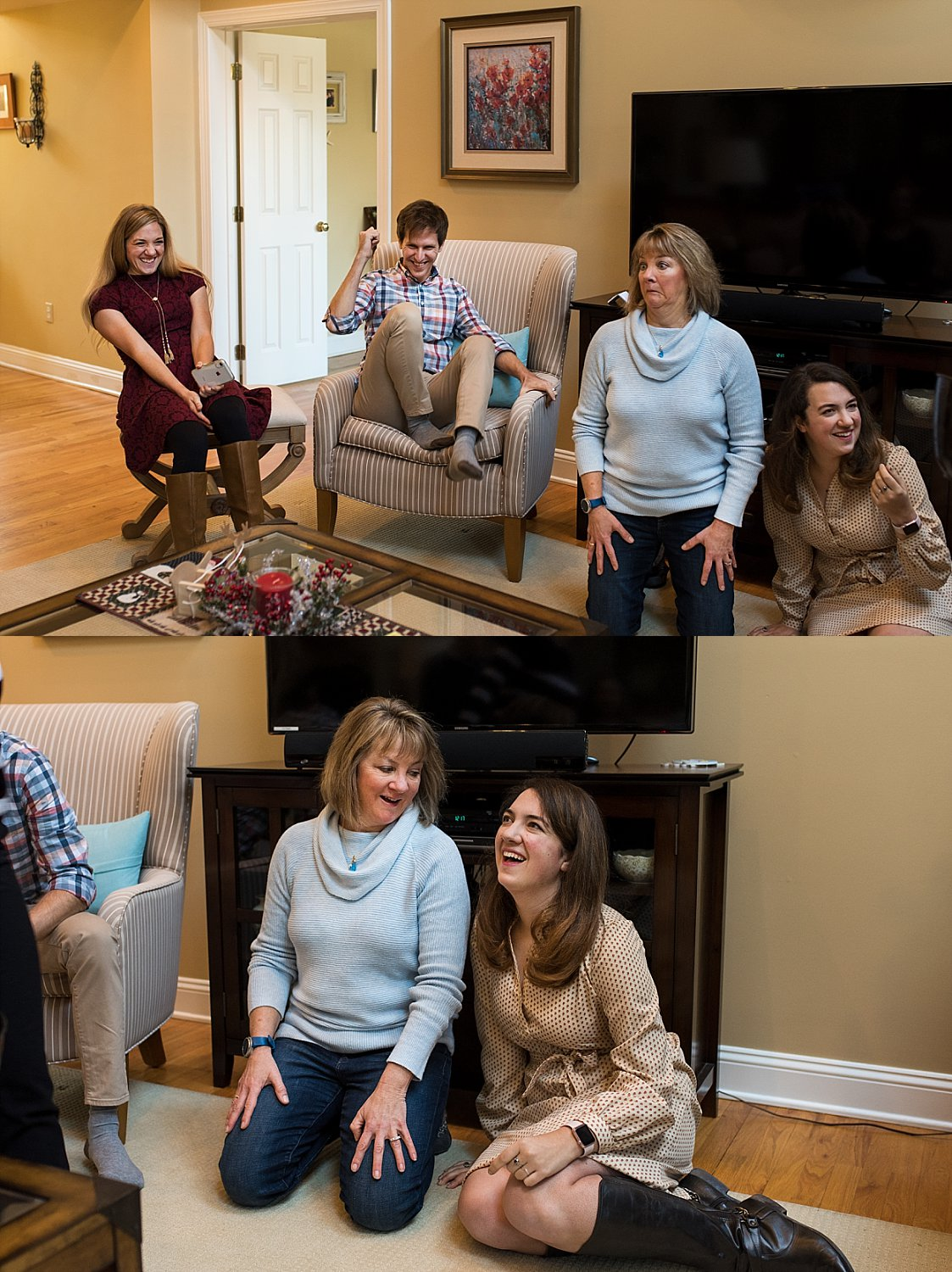 mother and daughter laughing during a game of charades in Newborn, Connecticut photo session