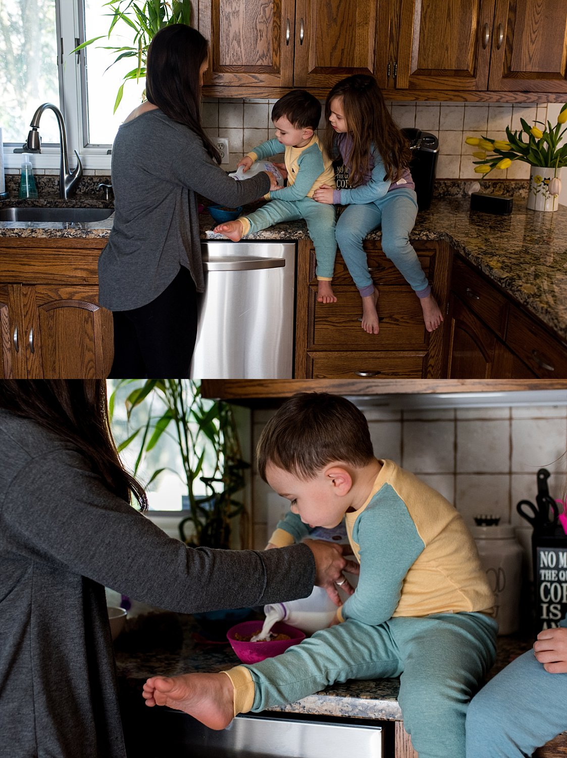 children pouring milk into their cereal. family photographer Hartford County CT