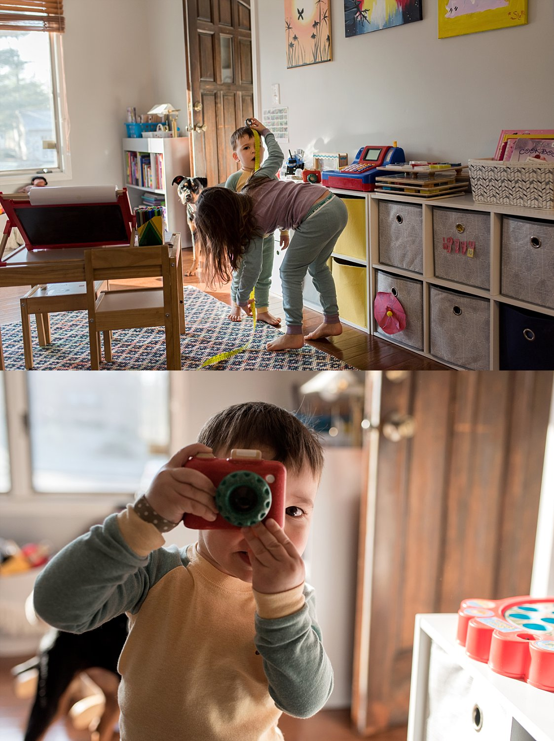 siblings playing with toys in playroom. CT child photographer