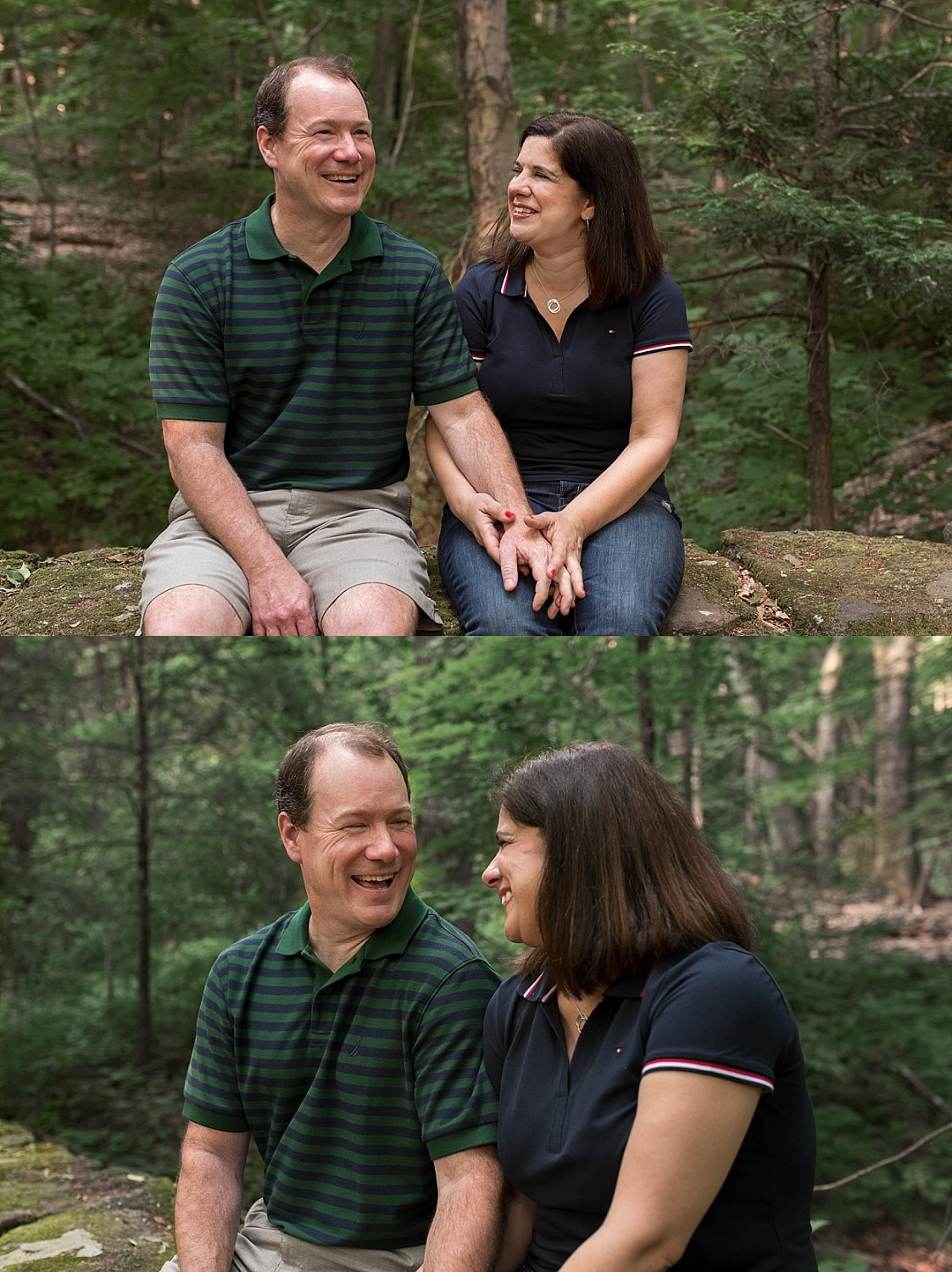 candid photographer CT. husband and wife laughing during family hike in middlesex county CT
