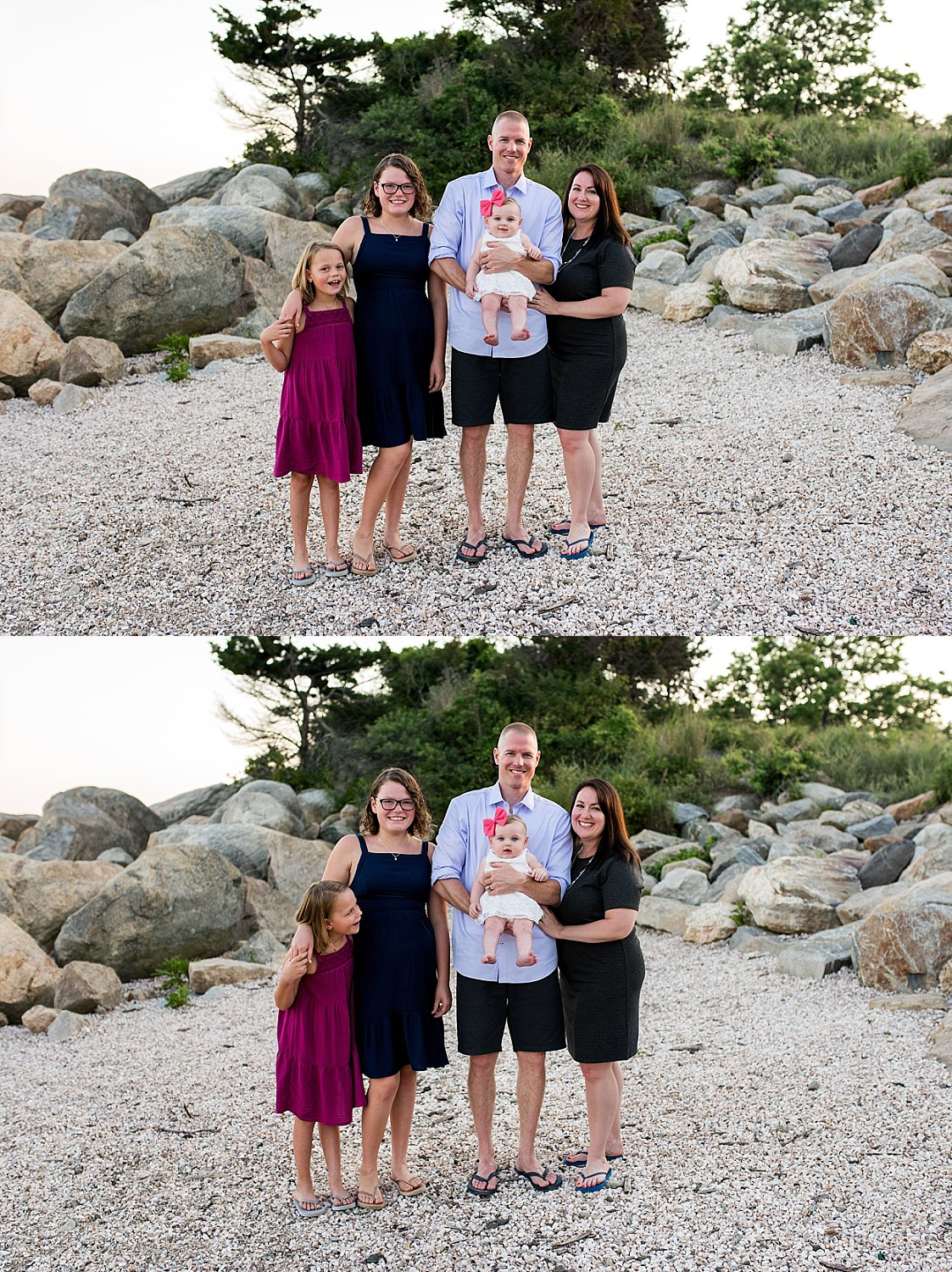 CT Baby photographer located in New Haven County. Family enjoying the sunset during their photo session.