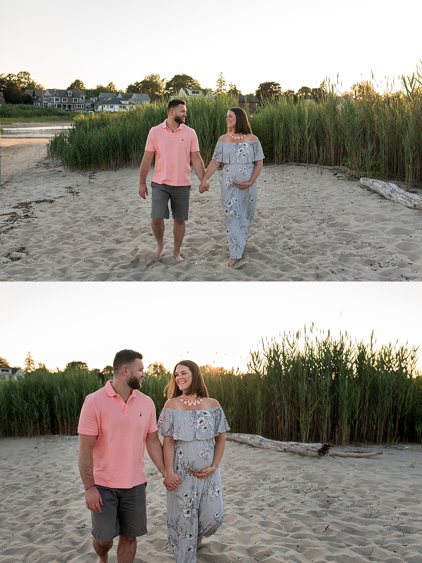 Couple holding hands at the beach in Old Saybrook, CT during their Connecticut maternity photography session.
