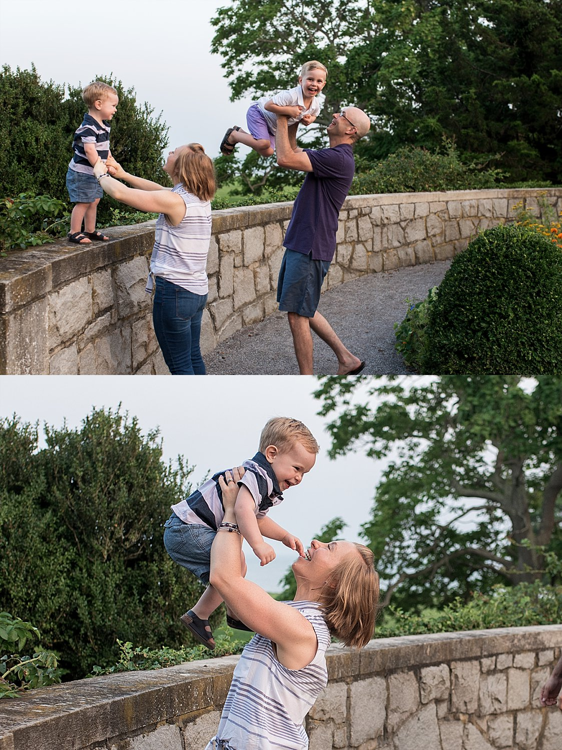 Children jumping off stone wall into parents arms at CT family photographer