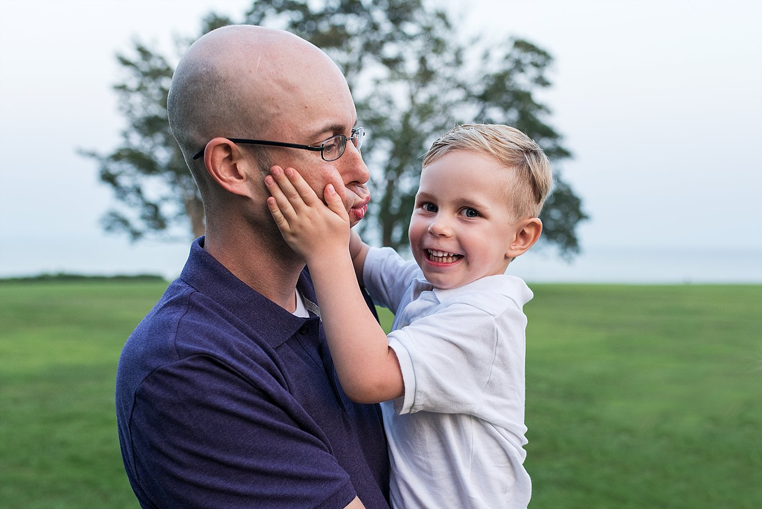 Dad and son being silly during Family photography in Connecticut