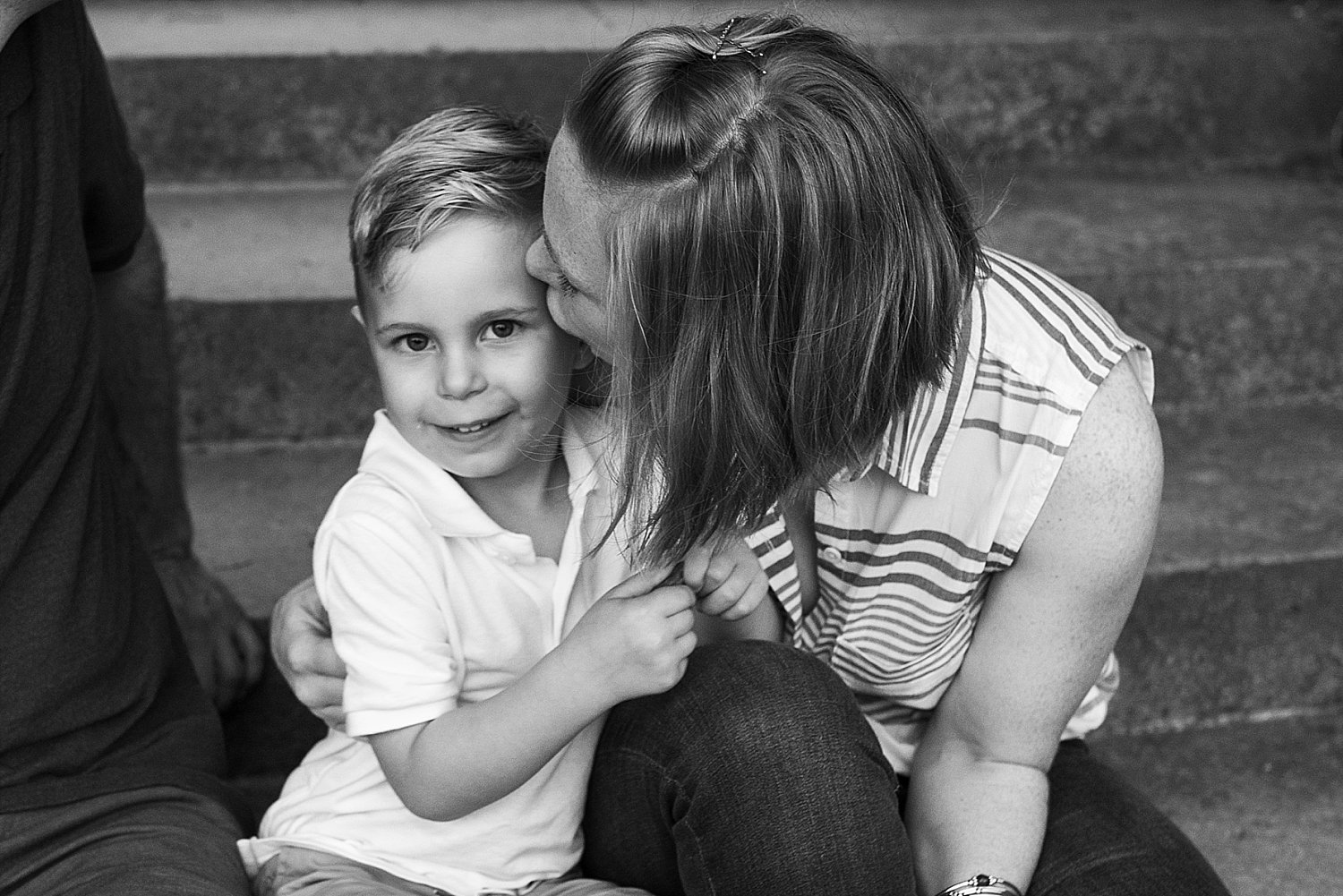 Portrait of mother kissing son in Waterford CT photography