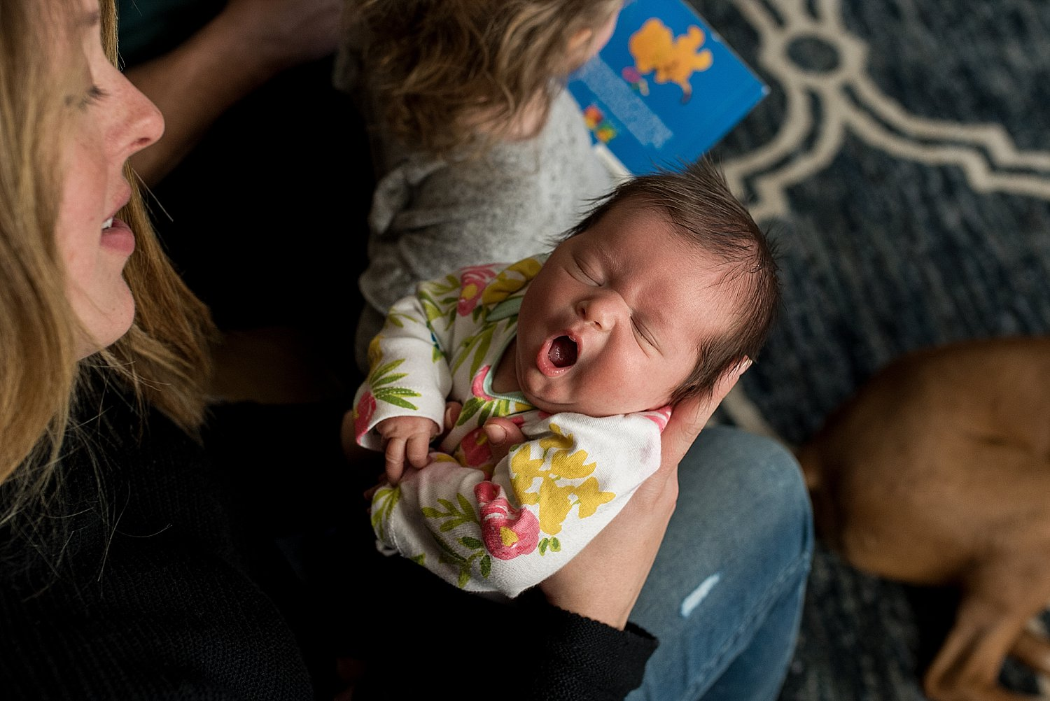 Baby girl yawning. CT baby portrait