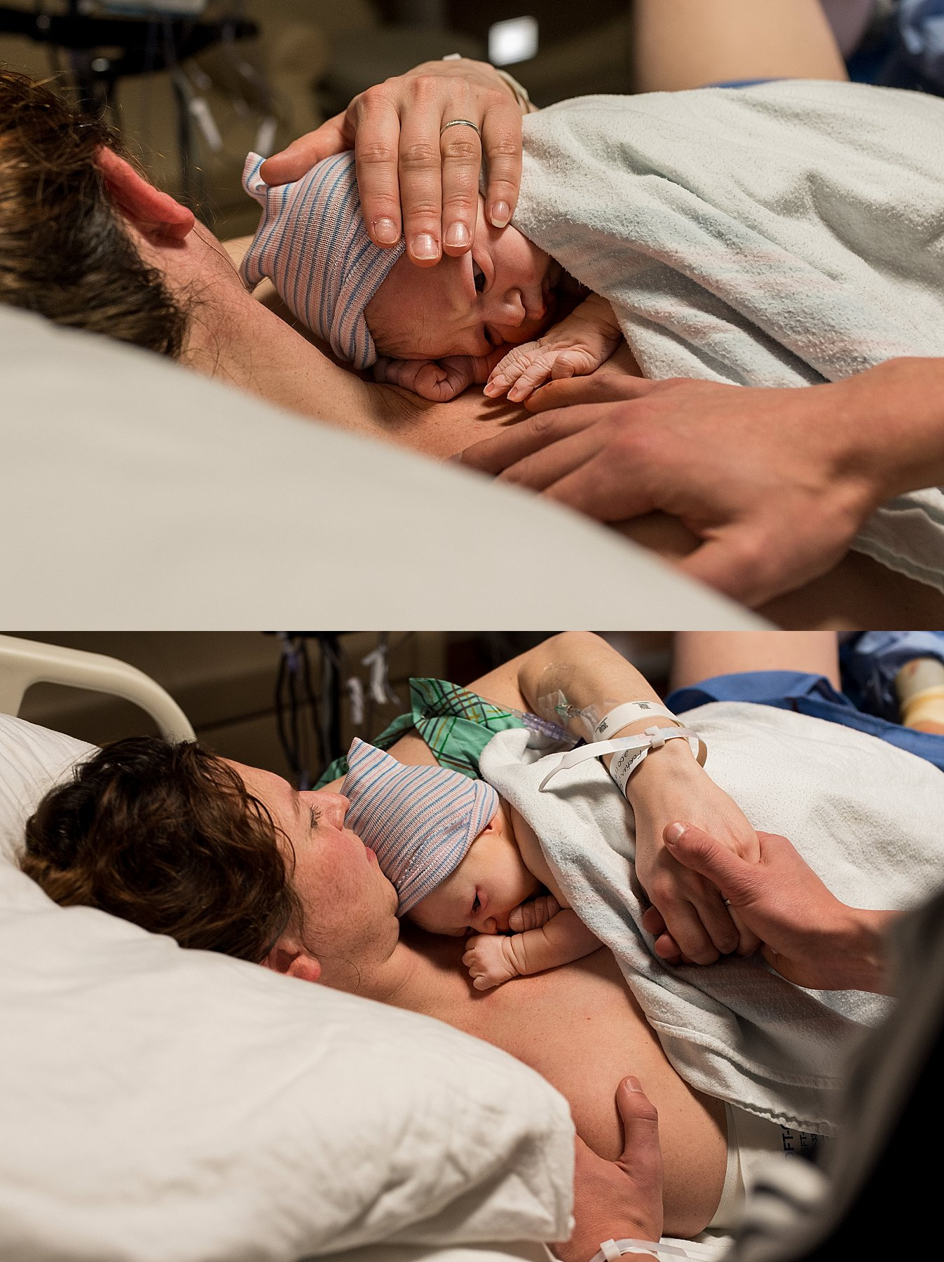 Birth photographer CT. Mother doing skin to skin with newborn daughter at Hartford Hospital.