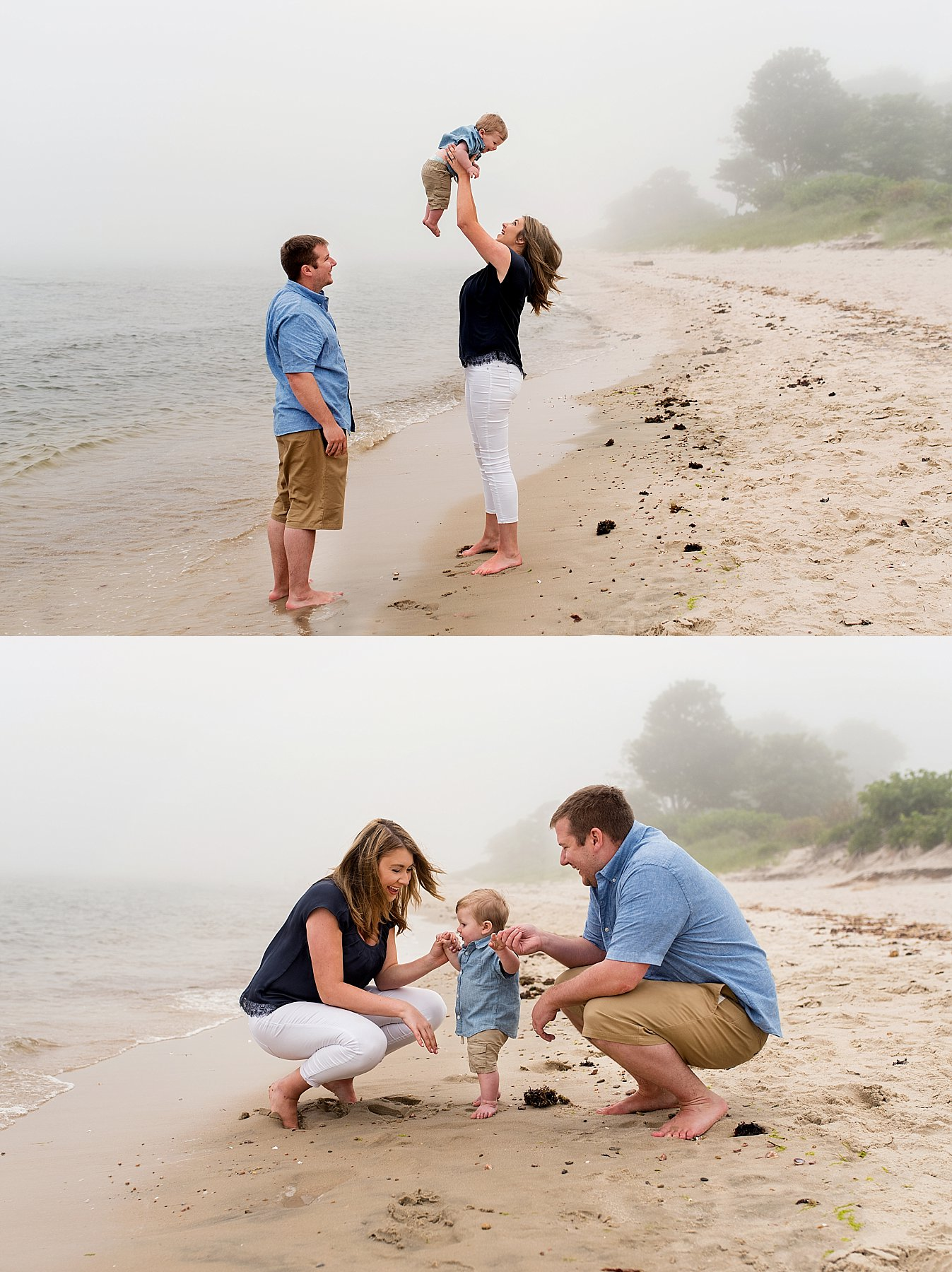 Family portraits with infant on Connecticut beach photography.